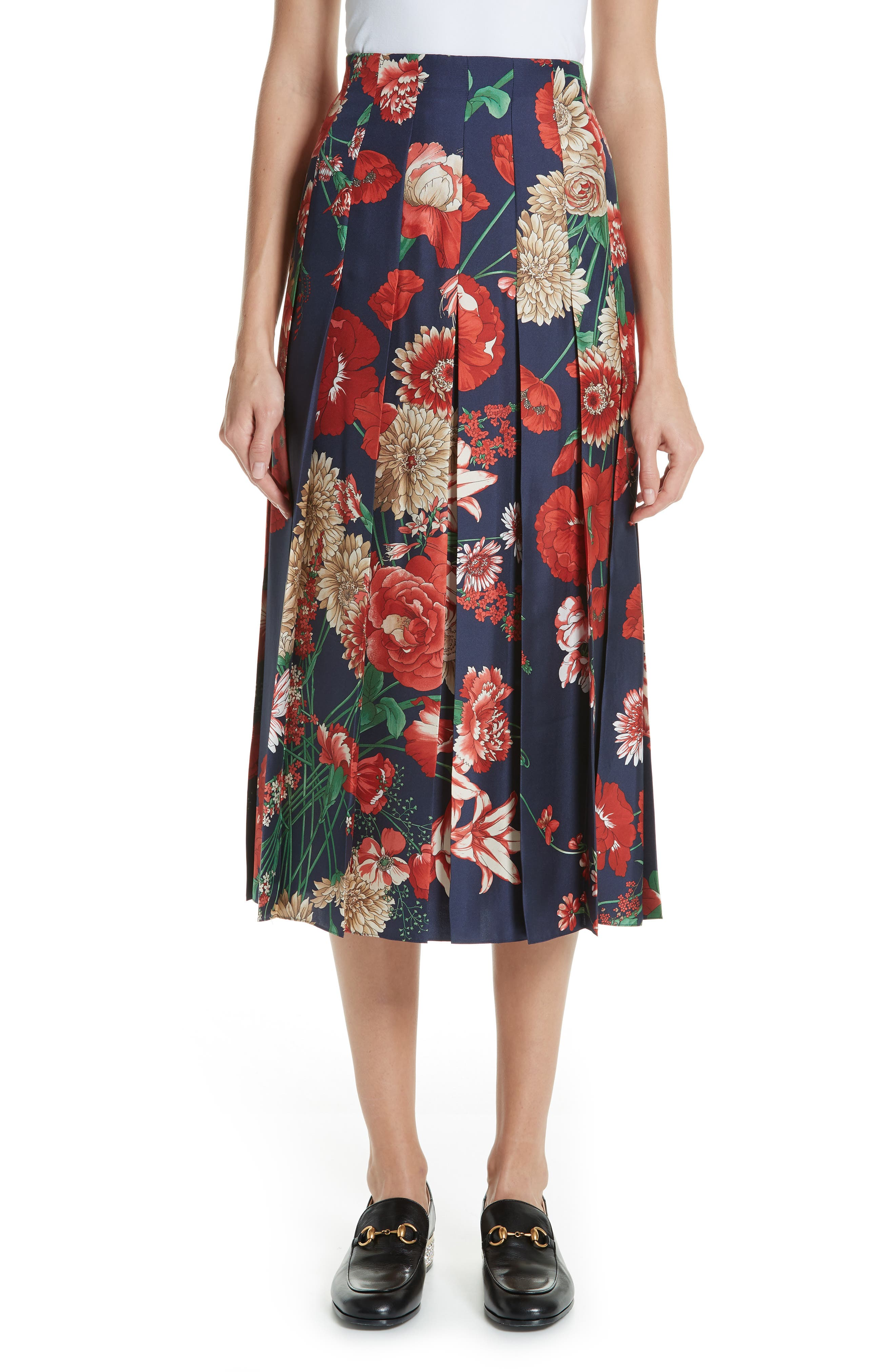 Spring Bouquet Print Silk Pleated Skirt,                             Main thumbnail 1, color,                             BLUE/ RED PRINT