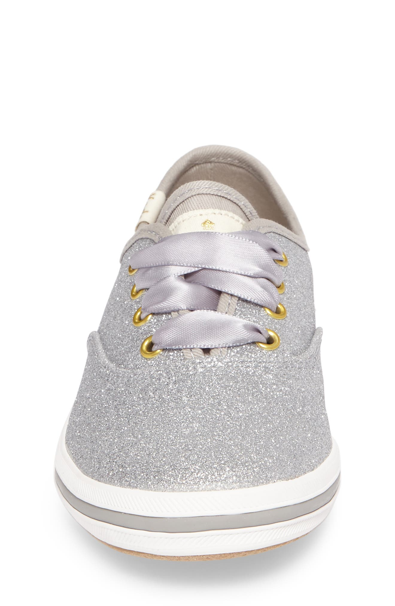 x kate spade new york Champion Glitter Sneaker,                             Alternate thumbnail 4, color,                             SILVER