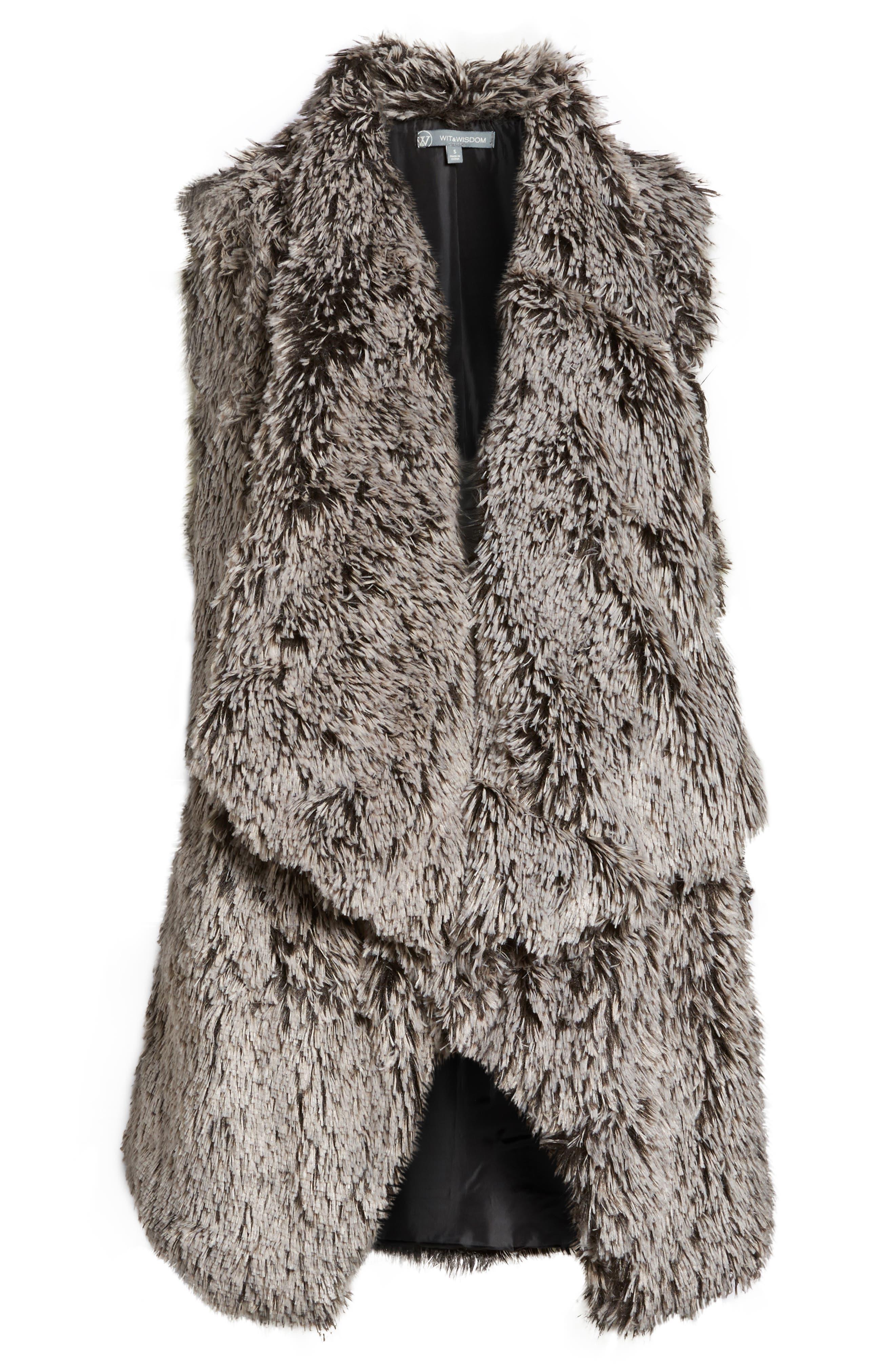 Faux Fur Drape Front Vest,                             Alternate thumbnail 5, color,                             020