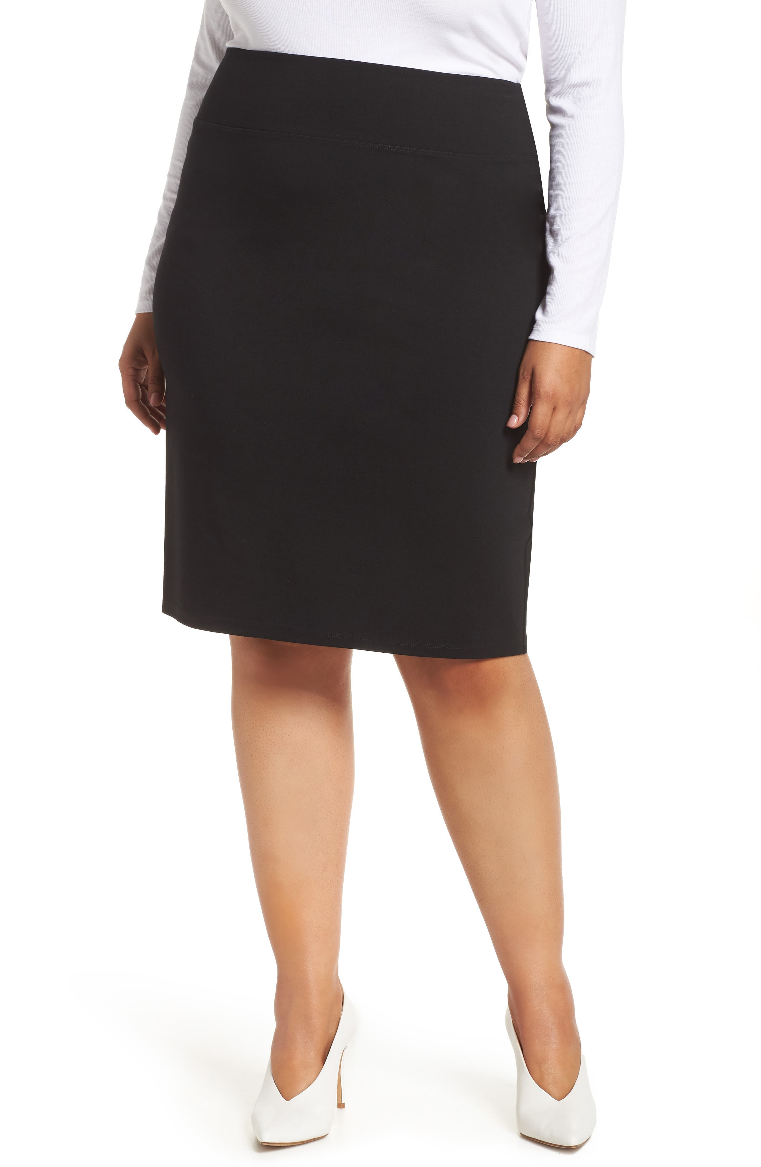Plus Size Halogen Ponte Skirt, Black