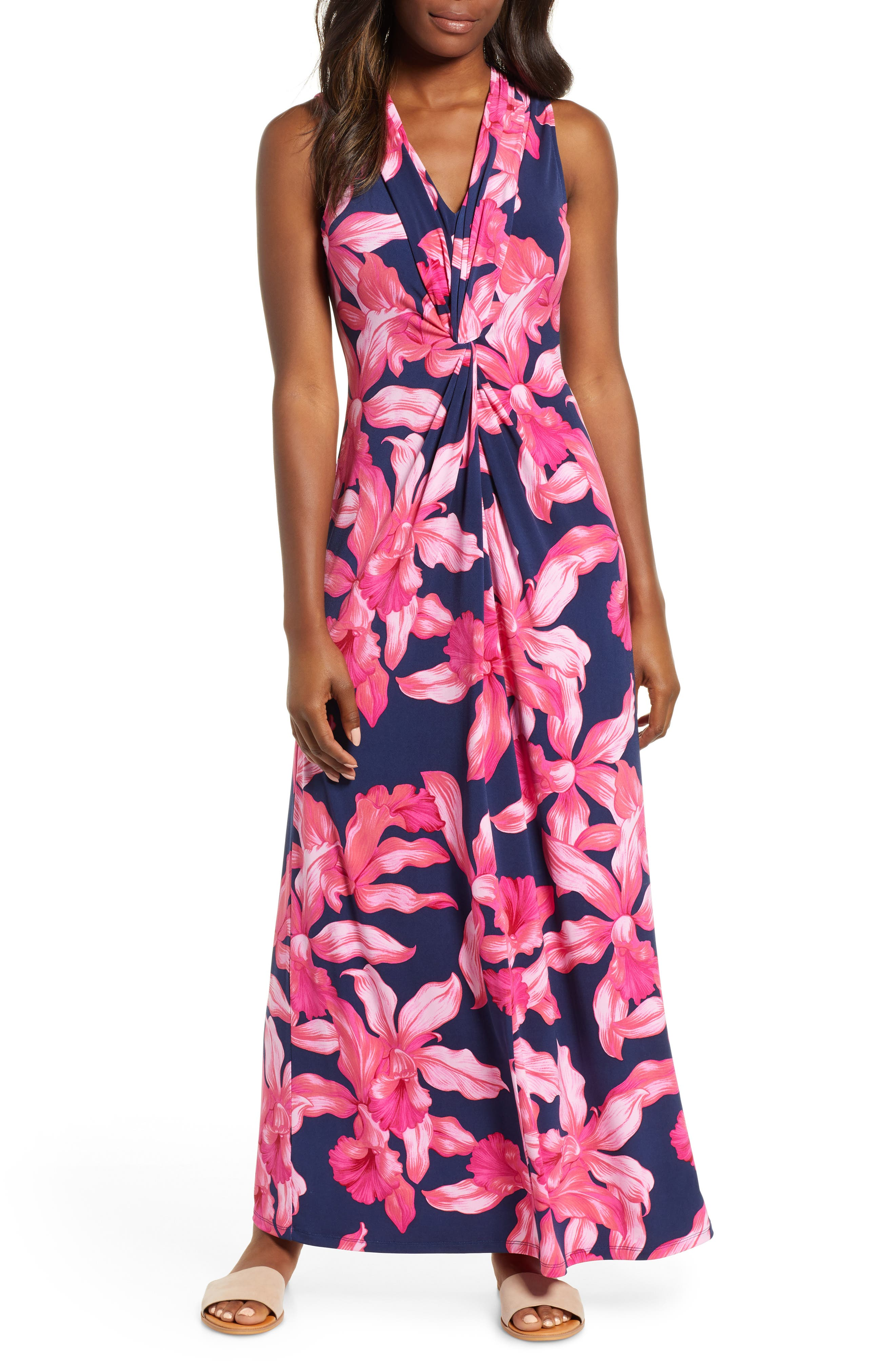 Orchid Rua Maxi Dress,                         Main,                         color, ISLAND NAVY