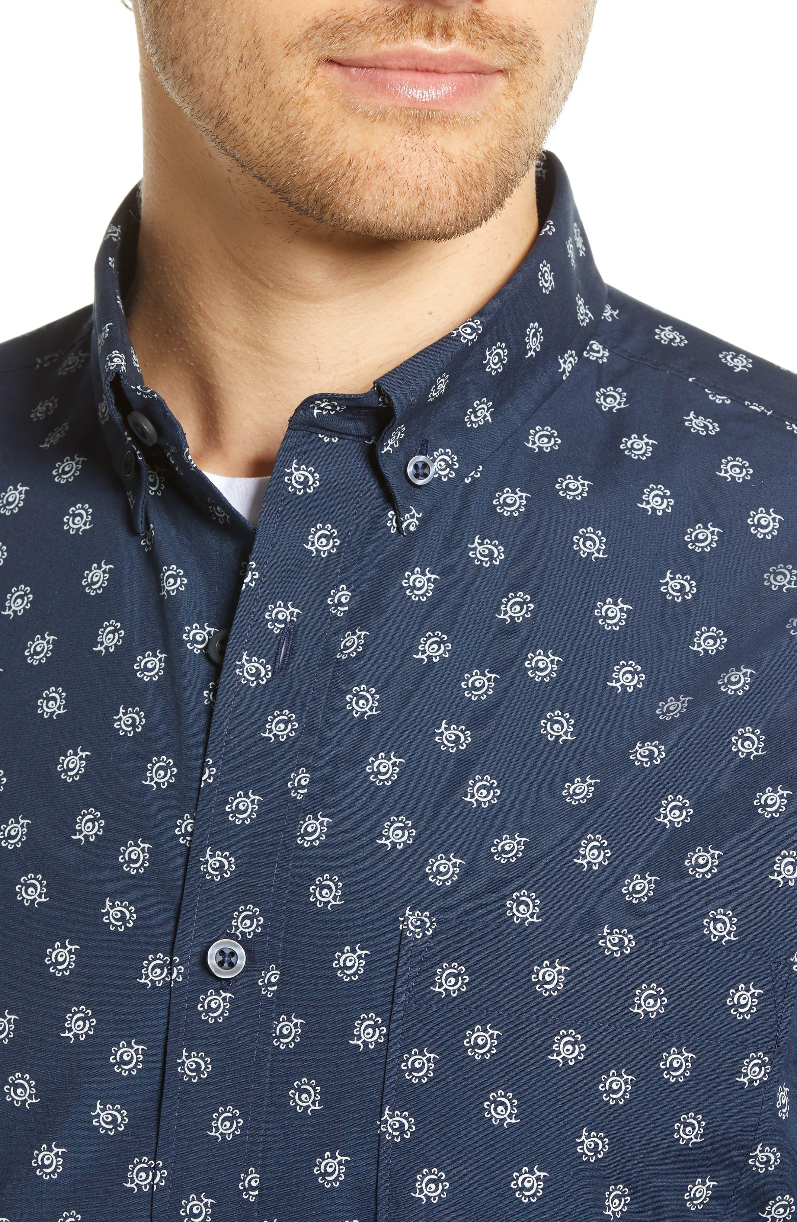 Floral Print Sport Shirt,                             Alternate thumbnail 2, color,                             NAVY IRIS FLORAL PRINT