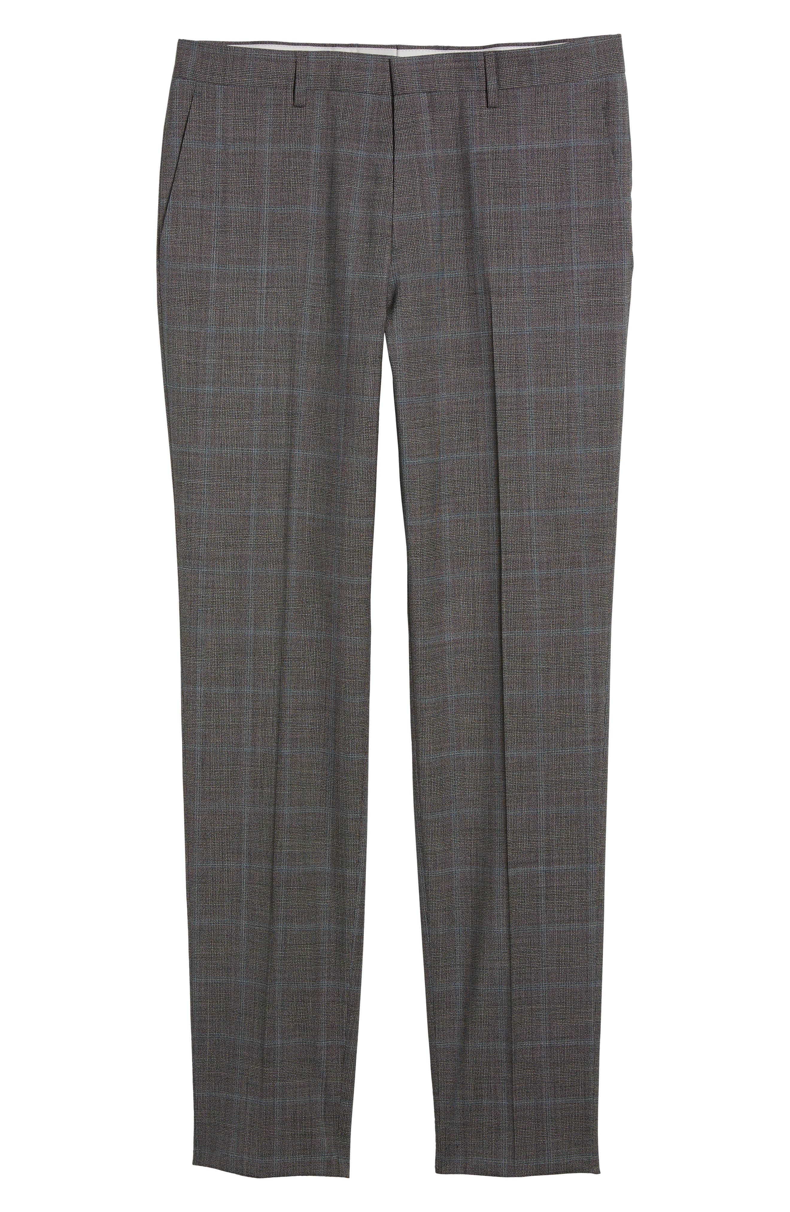 Genesis Flat Front Plaid Wool Trousers,                             Alternate thumbnail 6, color,                             061