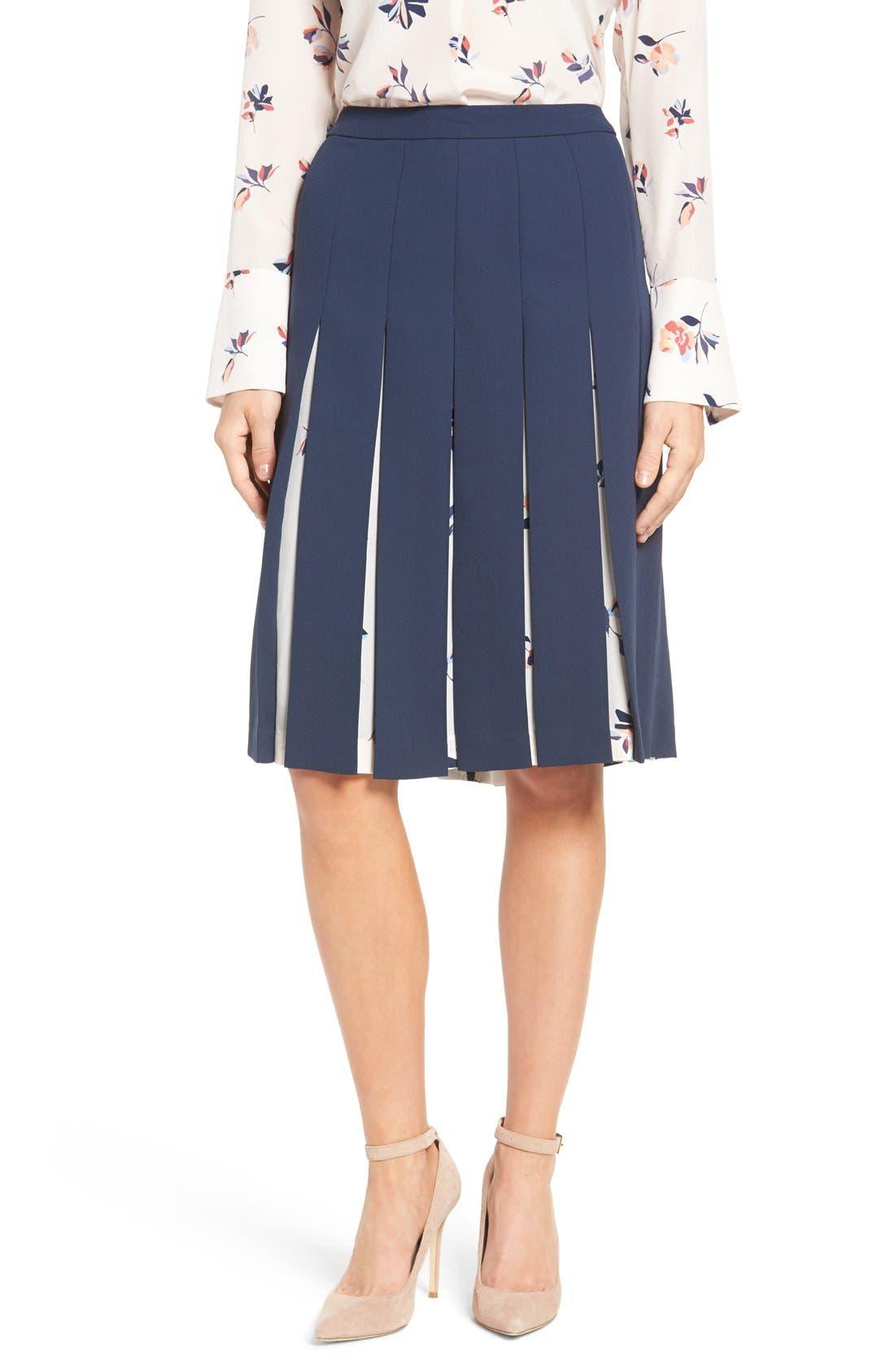 Print Mix Pleated Skirt,                             Alternate thumbnail 10, color,                             410