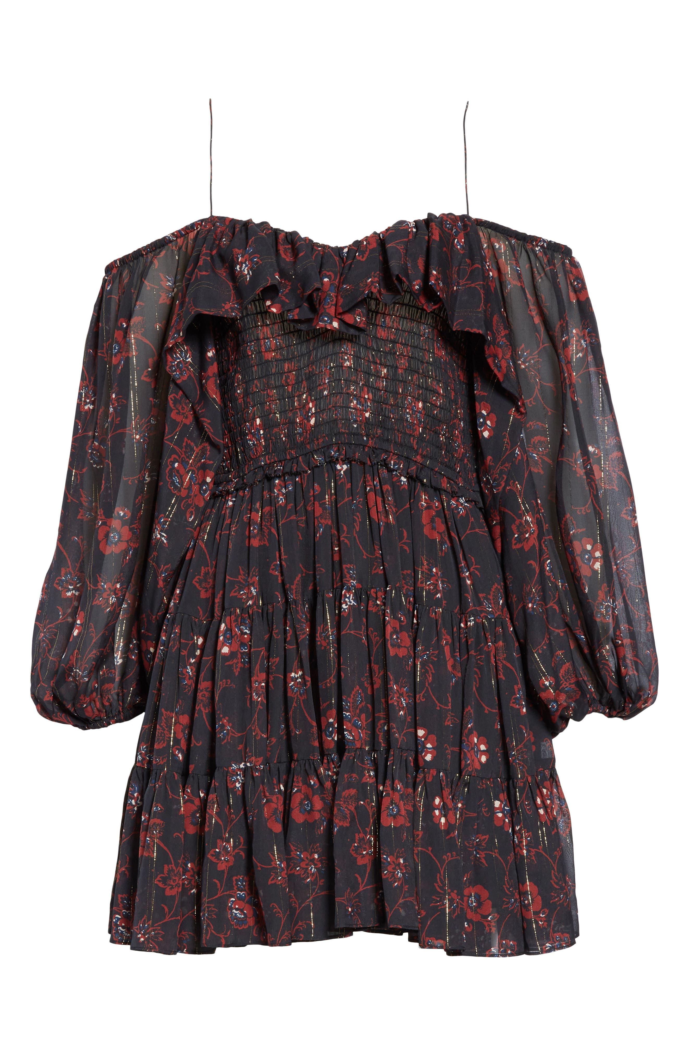 Monet Metallic Floral Cold Shoulder Silk Blend Dress,                             Alternate thumbnail 7, color,                             NOIR