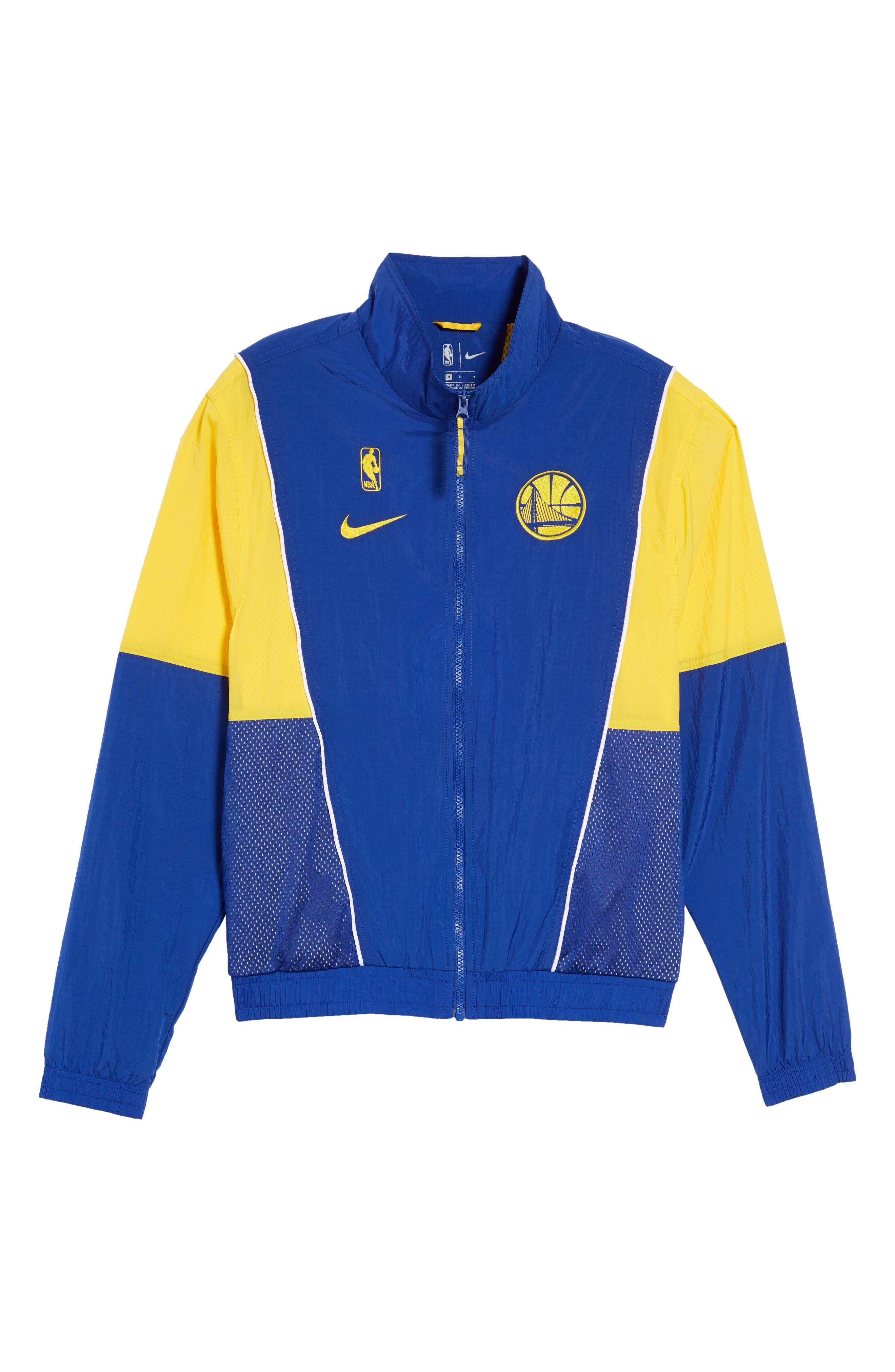 Golden State Warriors Track Jacket,                             Alternate thumbnail 7, color,                             RUSH BLUE/ AMARILLO/ WHITE