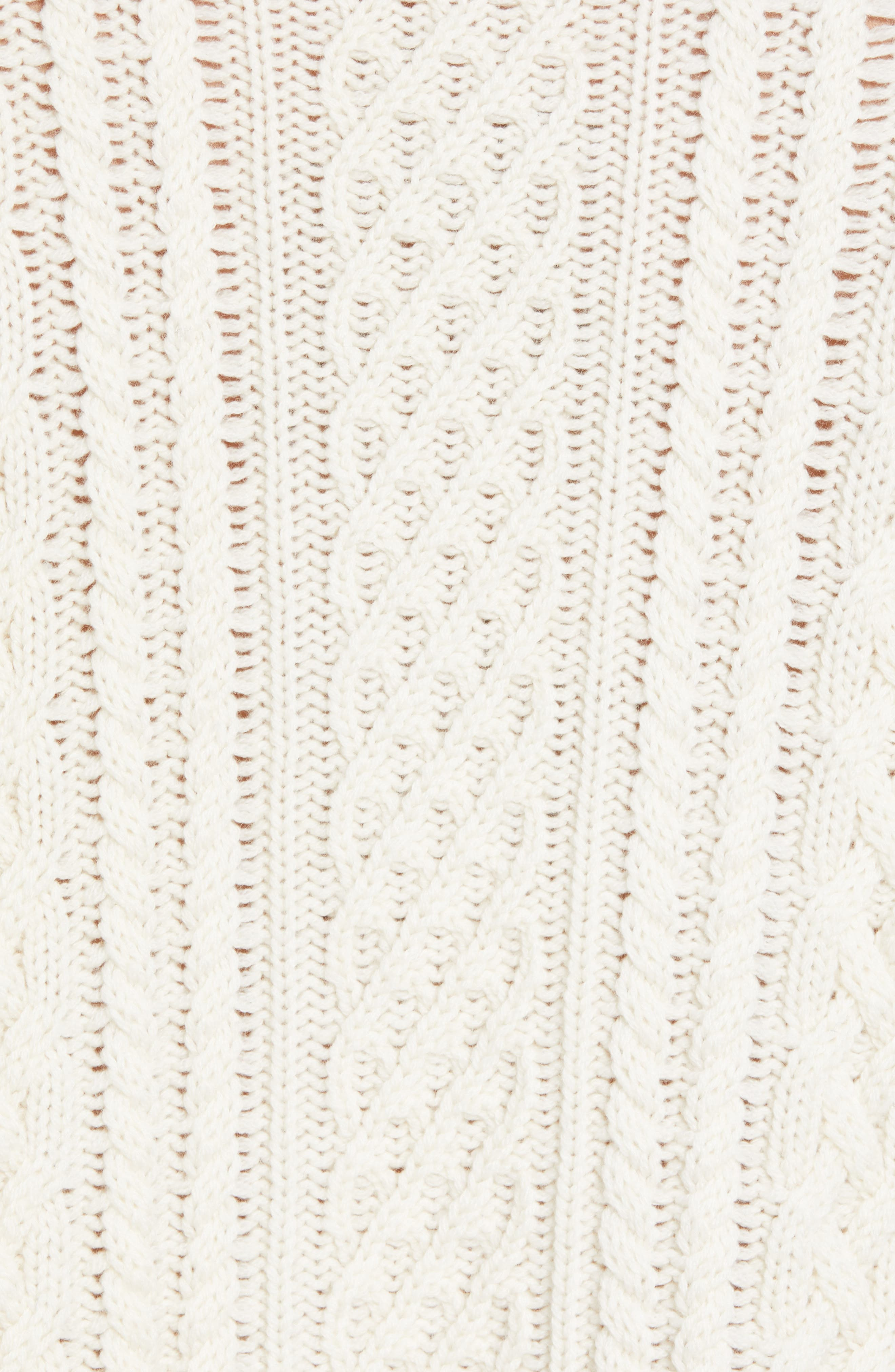 Oversize Distressed Wool Blend Sweater,                             Alternate thumbnail 5, color,                             BEIGE/ WHITE