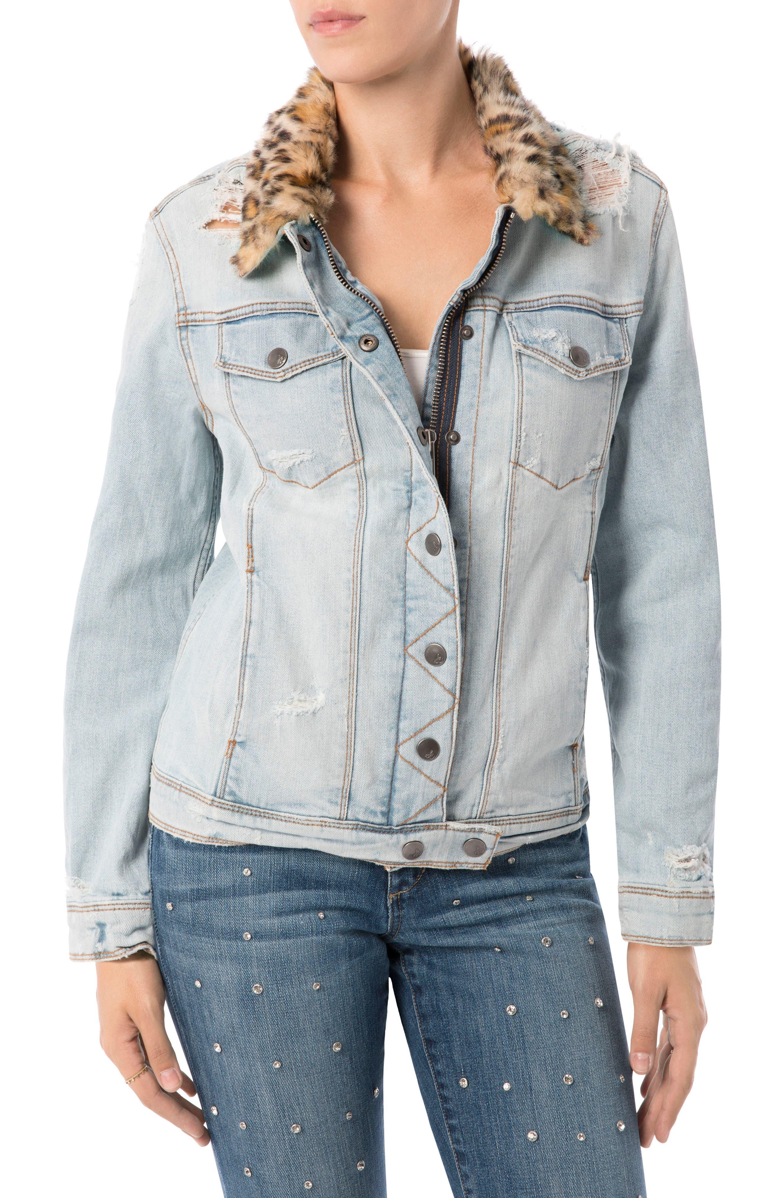 The Harper Faux Fur Collar Jacket,                         Main,                         color,