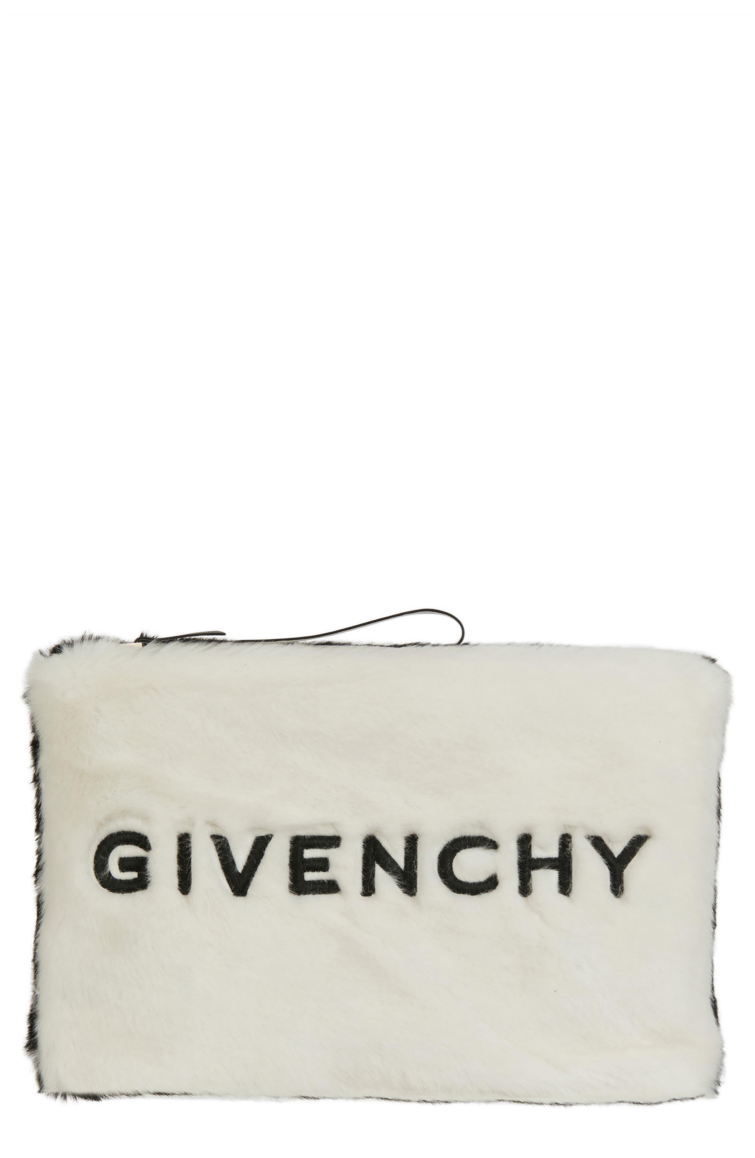 Gv3 Large Faux-Fur Pouch Wristlet Clutch Bag in Black