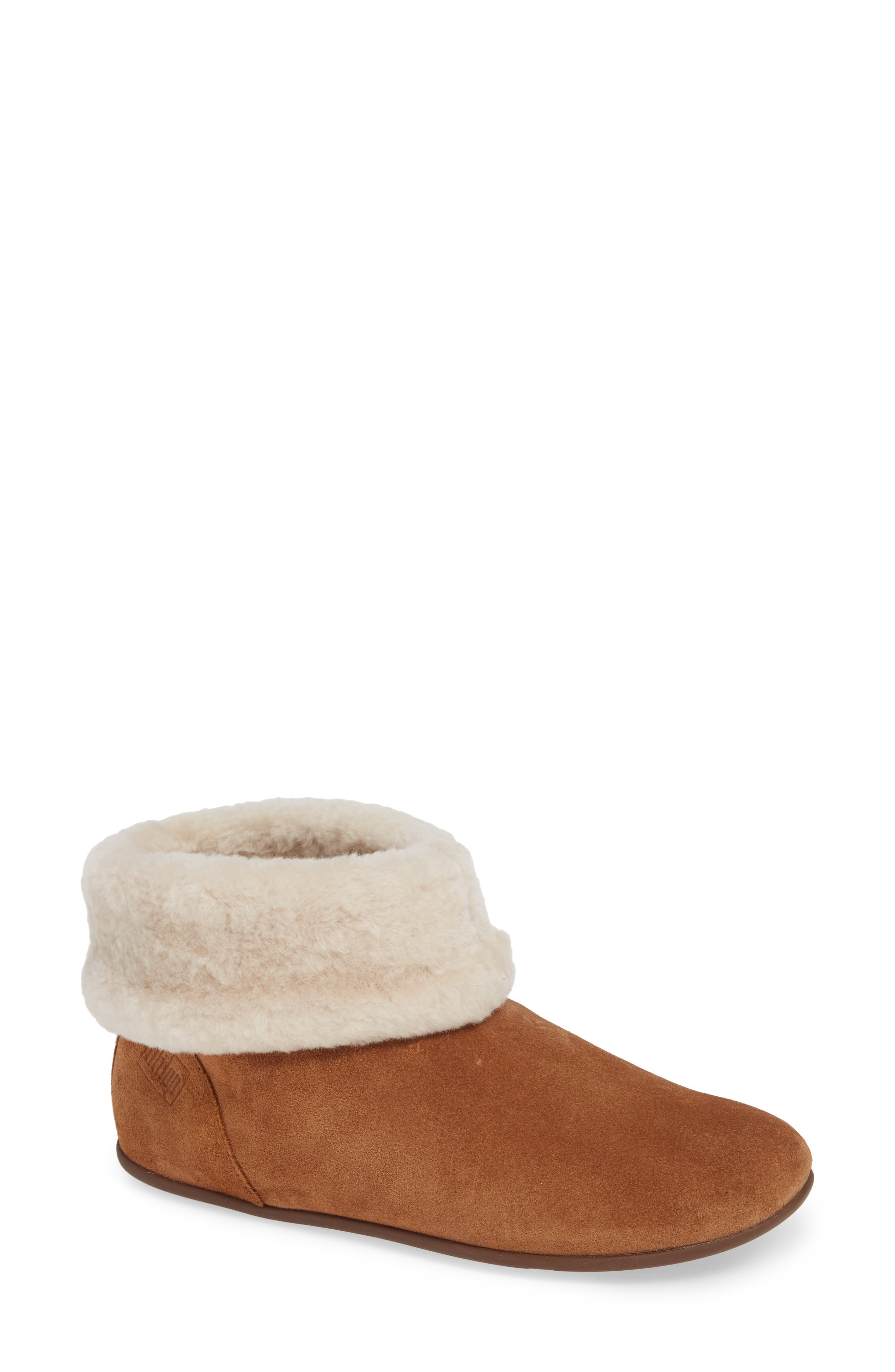 Fitflop Sarah Genuine Shearling Trim Bootie, Beige