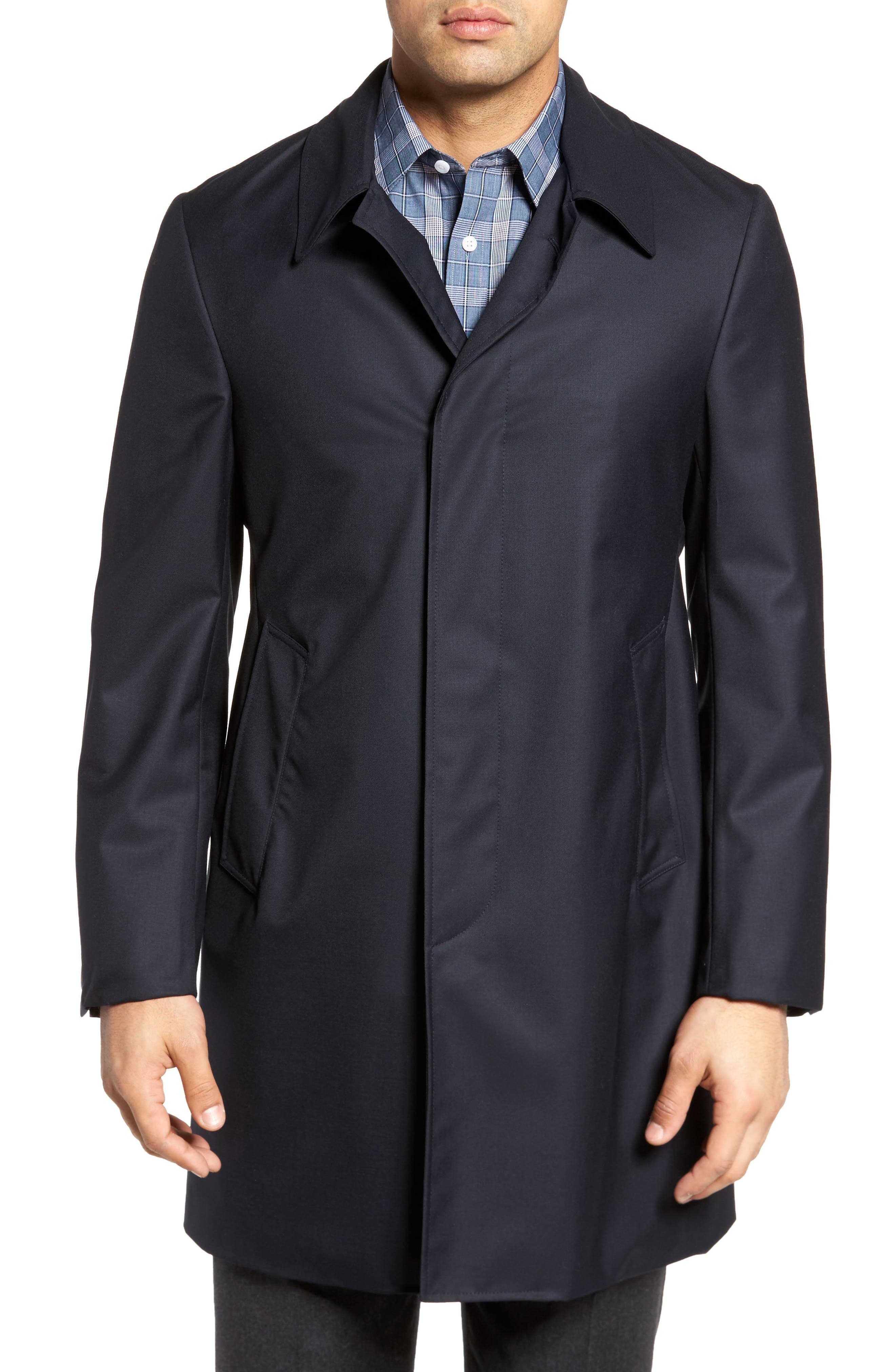 Classic Fit Wool & Cashmere Traveler Topcoat,                         Main,                         color, NAVY SOLID