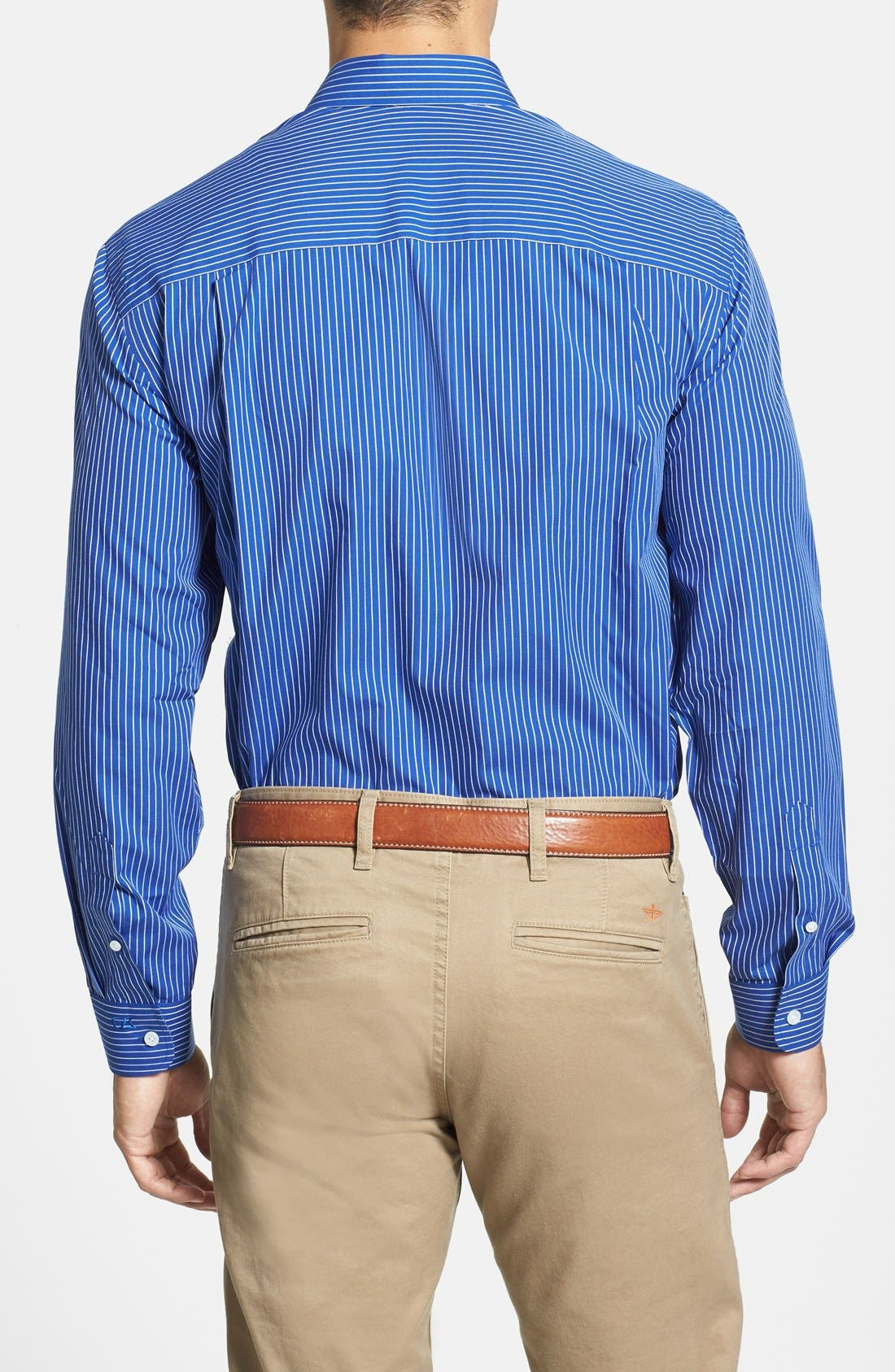 'Epic Easy Care' Classic Fit Vertical Pinstripe Wrinkle Resistant Sport Shirt,                             Alternate thumbnail 6, color,                             460