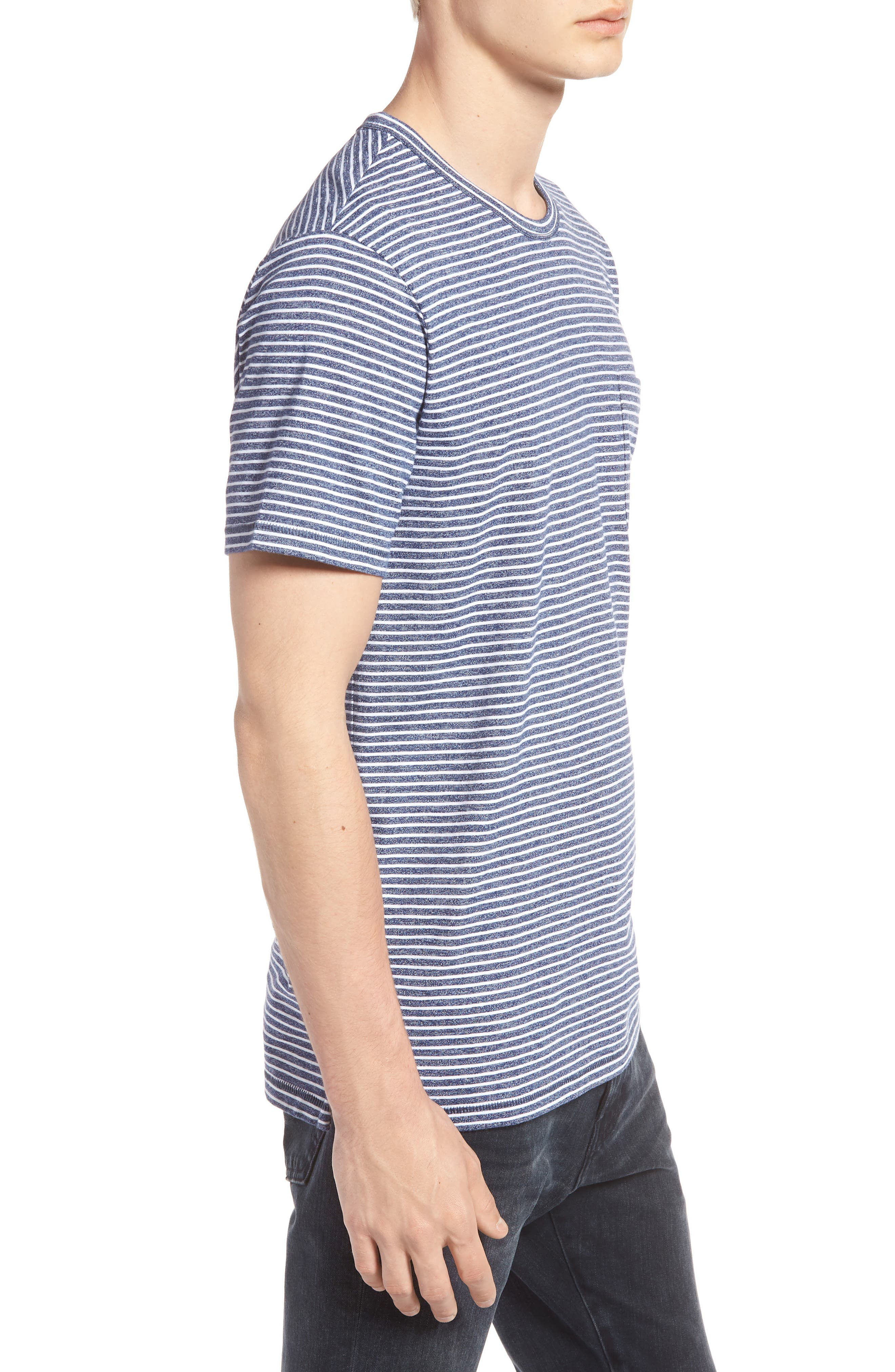 Yarn Dyed Stripe T-Shirt,                             Alternate thumbnail 3, color,                             NAVY IRIS STRIPE