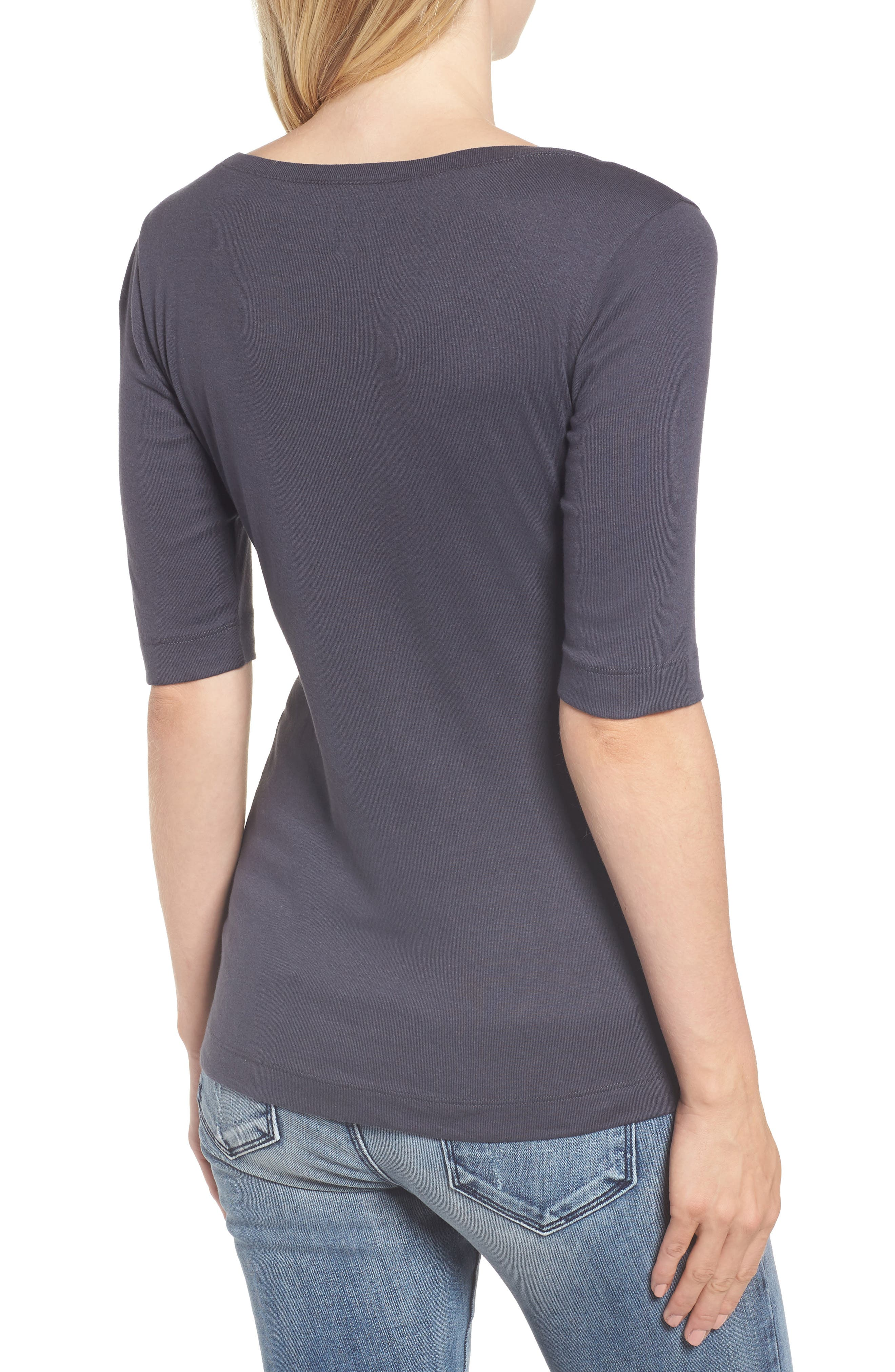 Ballet Neck Cotton & Modal Knit Elbow Sleeve Tee,                             Alternate thumbnail 2, color,                             GREY EBONY