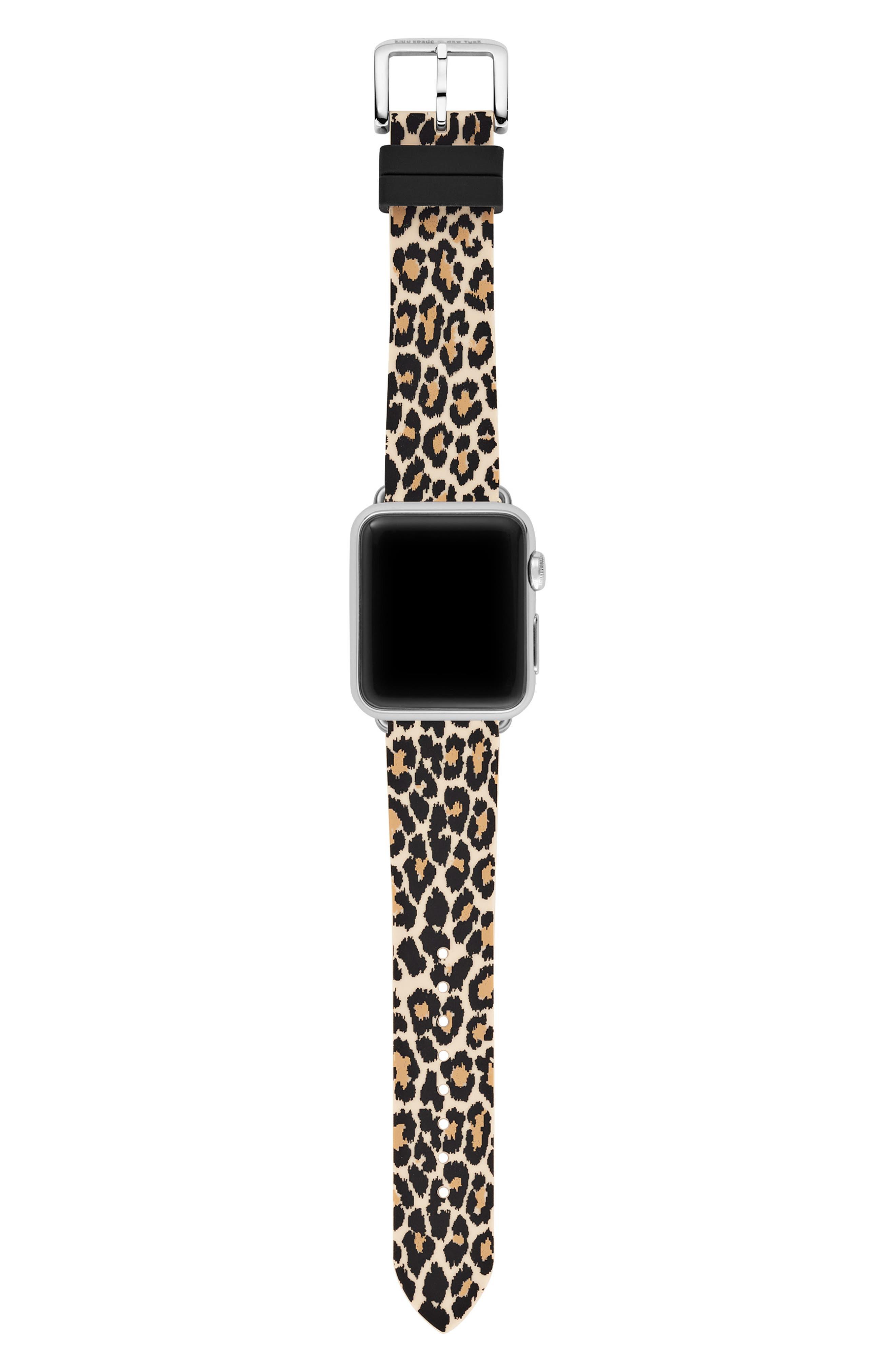Apple Watch strap, 38mm,                             Alternate thumbnail 3, color,                             BLACK/ LEOPARD