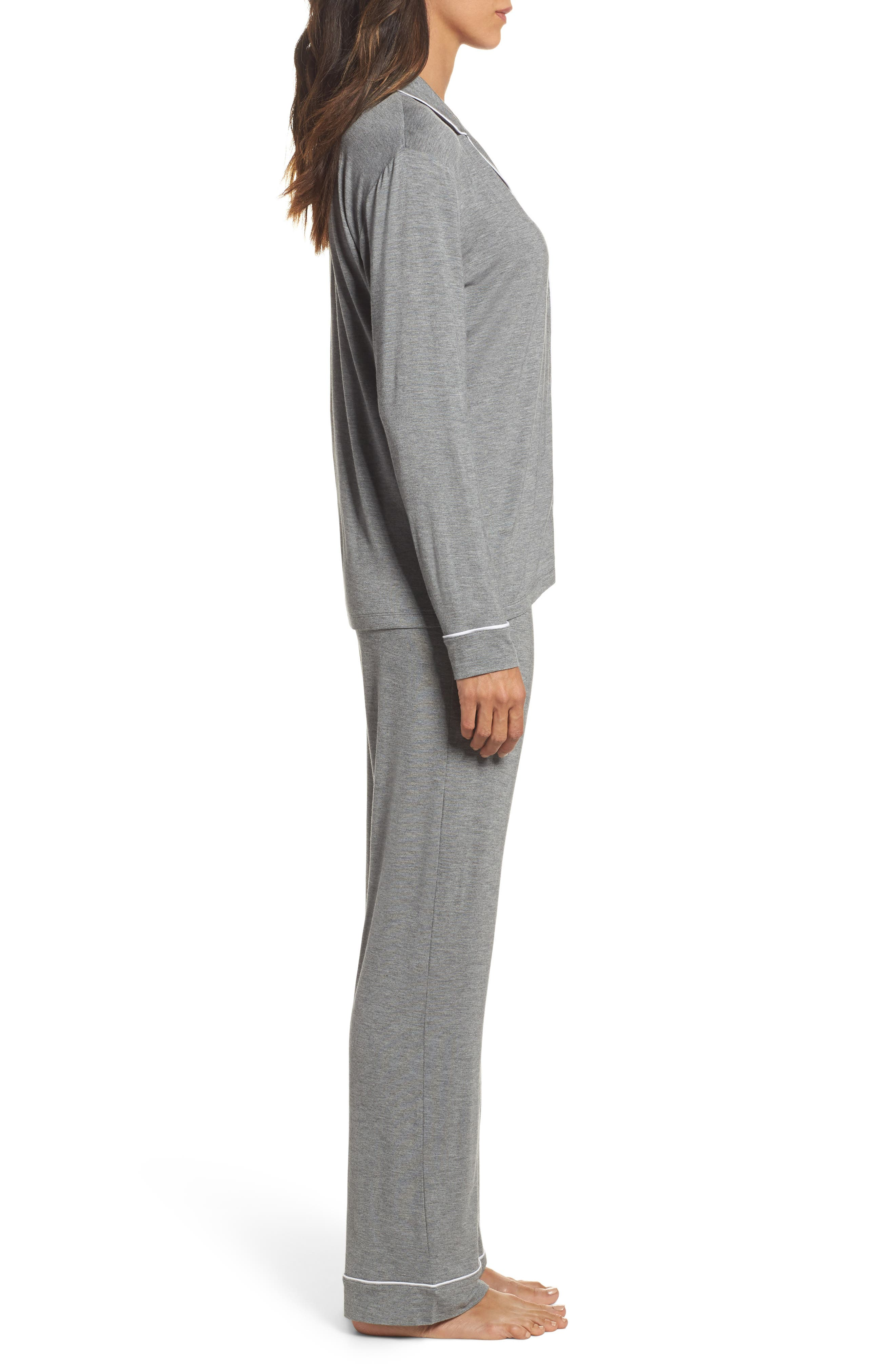 Lenon Jersey Pajamas,                             Alternate thumbnail 3, color,                             GREY HEATHER