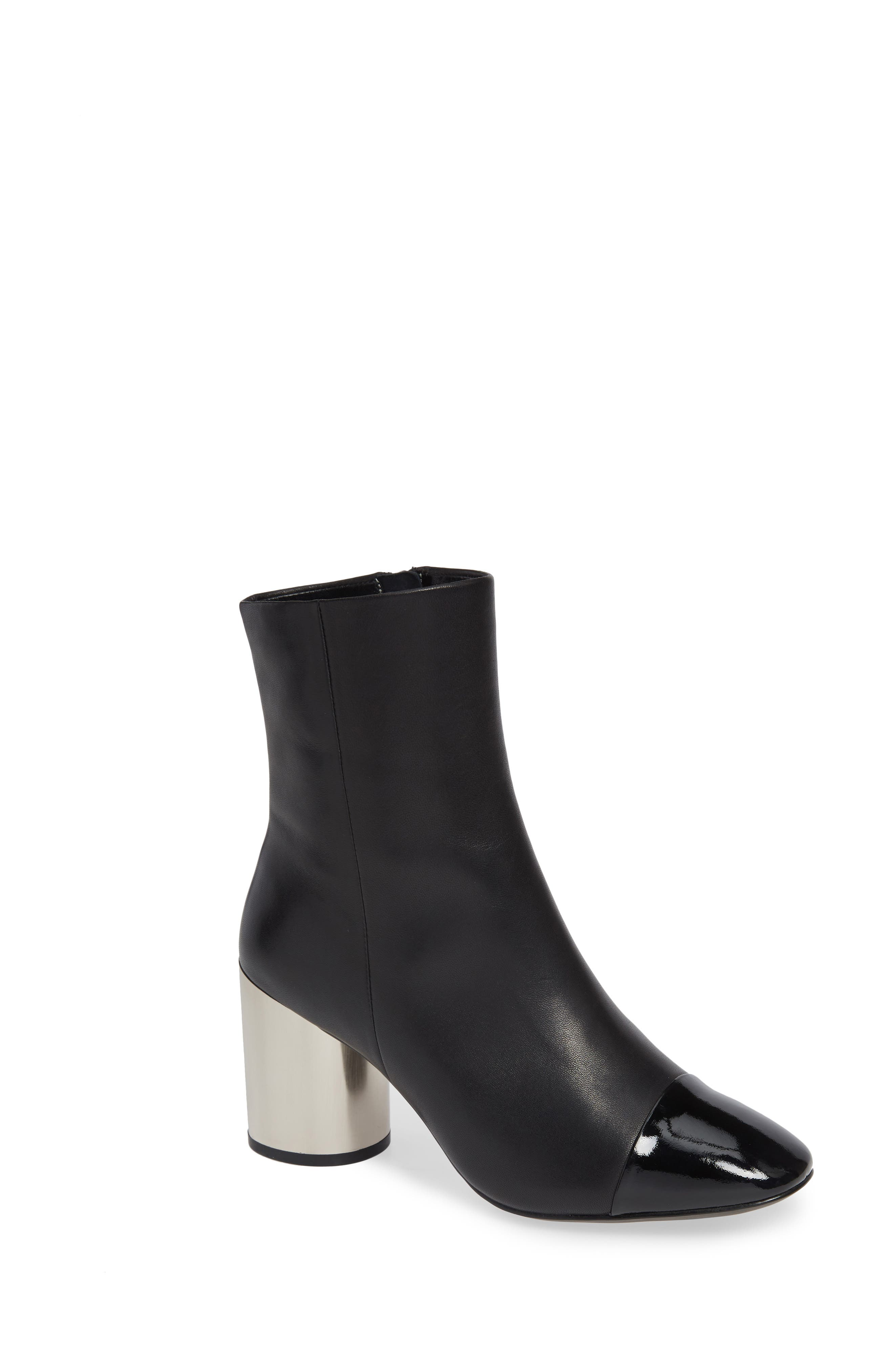 Stella Cap Toe Bootie,                             Main thumbnail 1, color,                             BLACK MATTE LEATHER