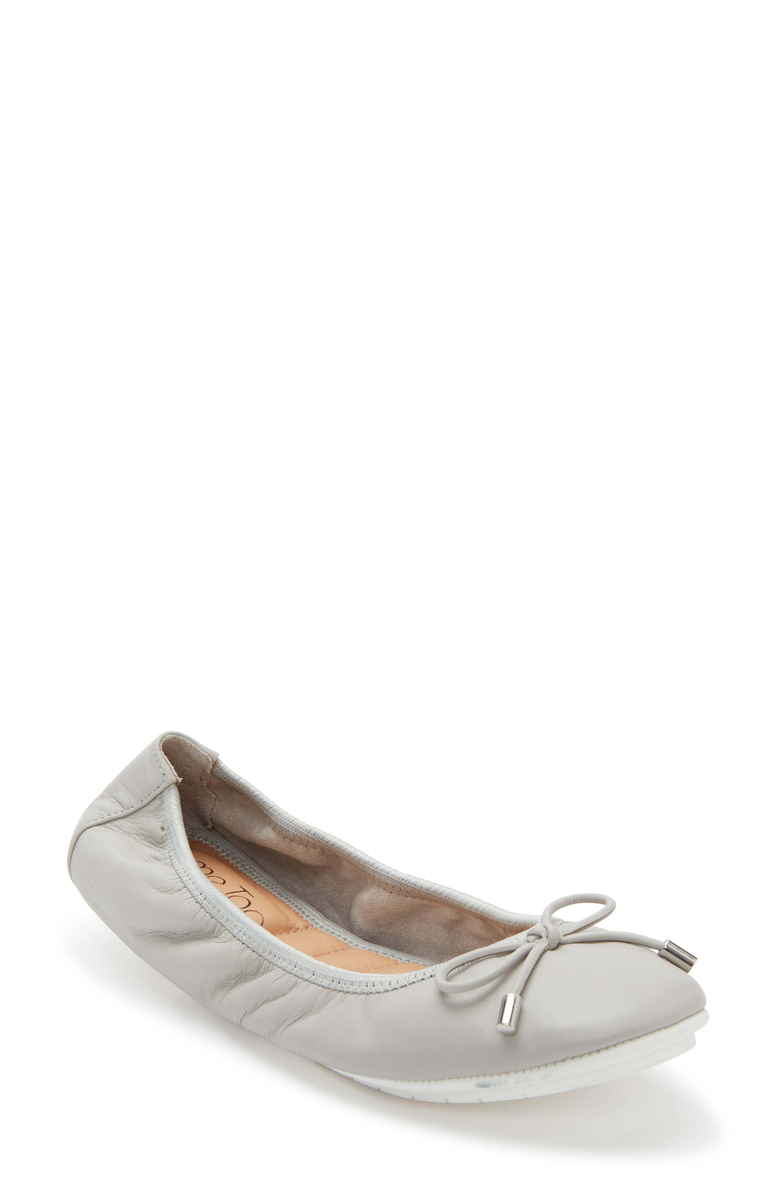 ME TOO,                             'Halle 2.0' Ballet Flat,                             Main thumbnail 1, color,                             LIGHT GREY LEATHER