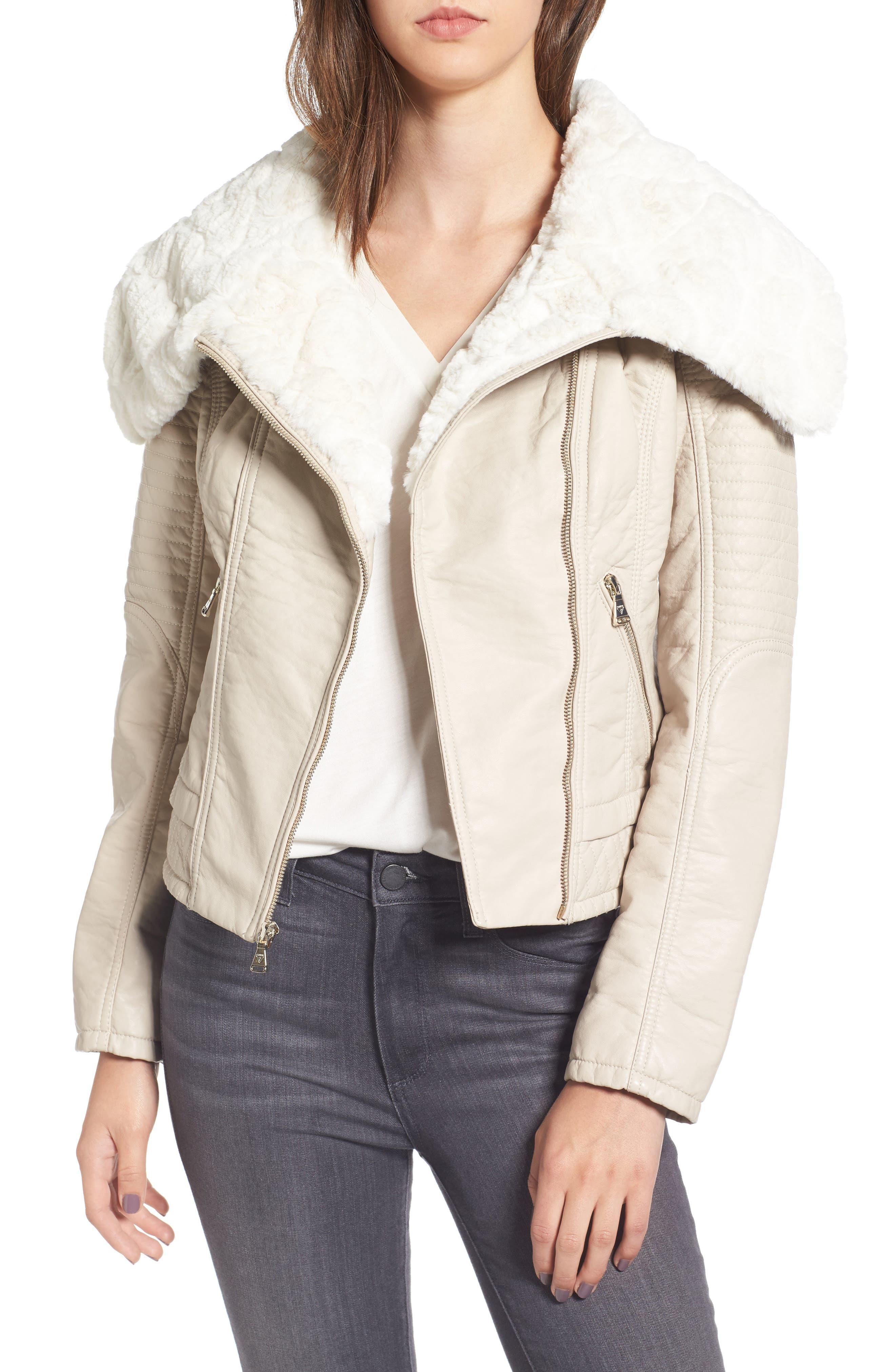 Faux Fur Collar Jacket,                             Main thumbnail 1, color,                             077