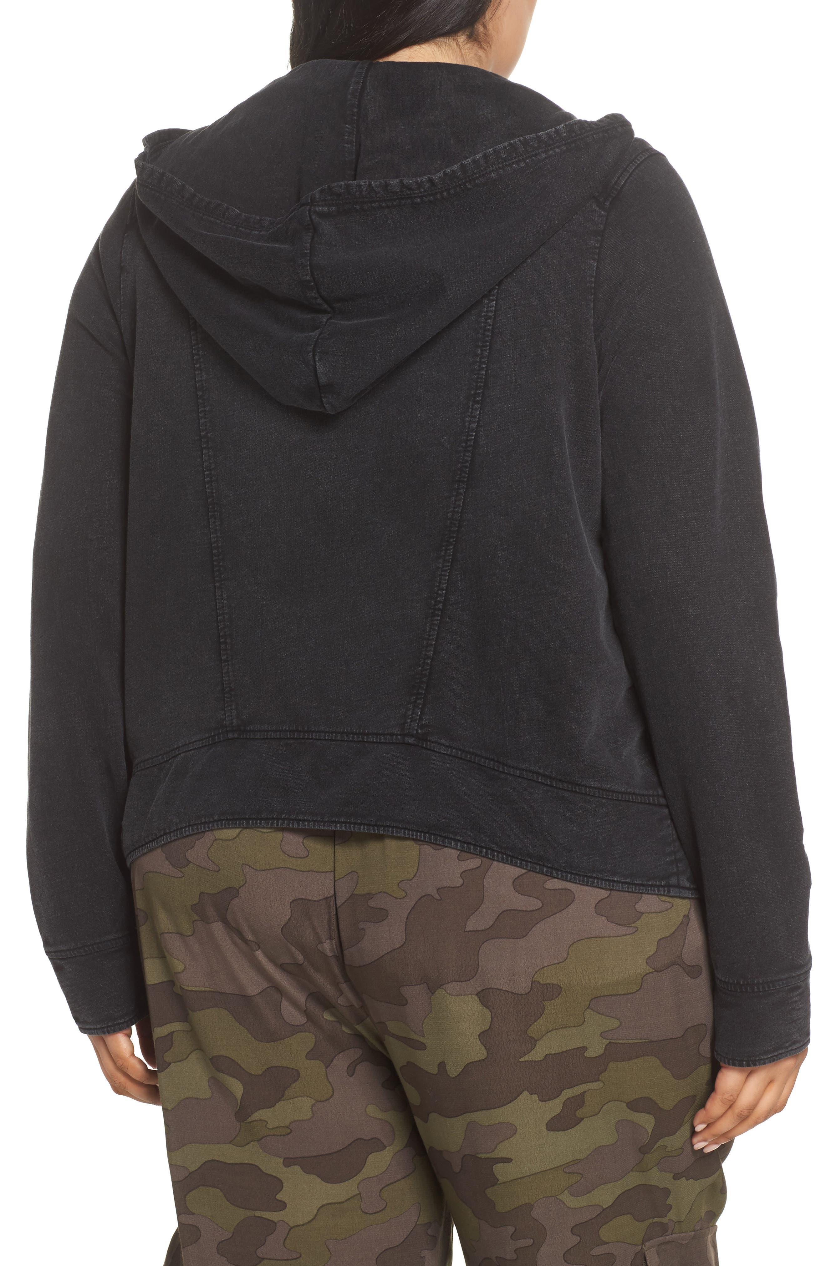 Hooded Knit Moto Jacket,                             Alternate thumbnail 9, color,                             BLACK