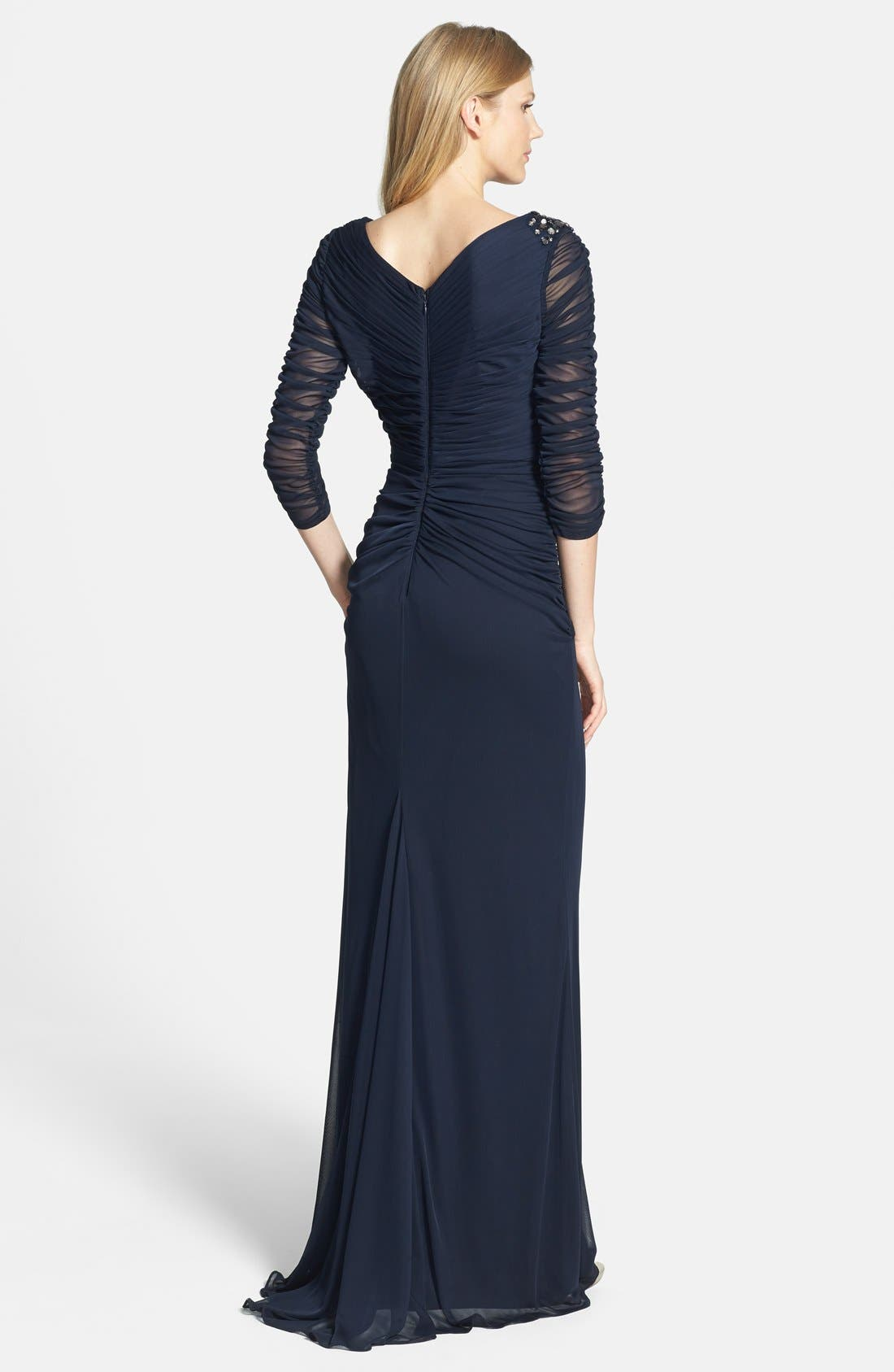 Sheer Sleeve Ruched Mesh Gown,                             Alternate thumbnail 3, color,                             411