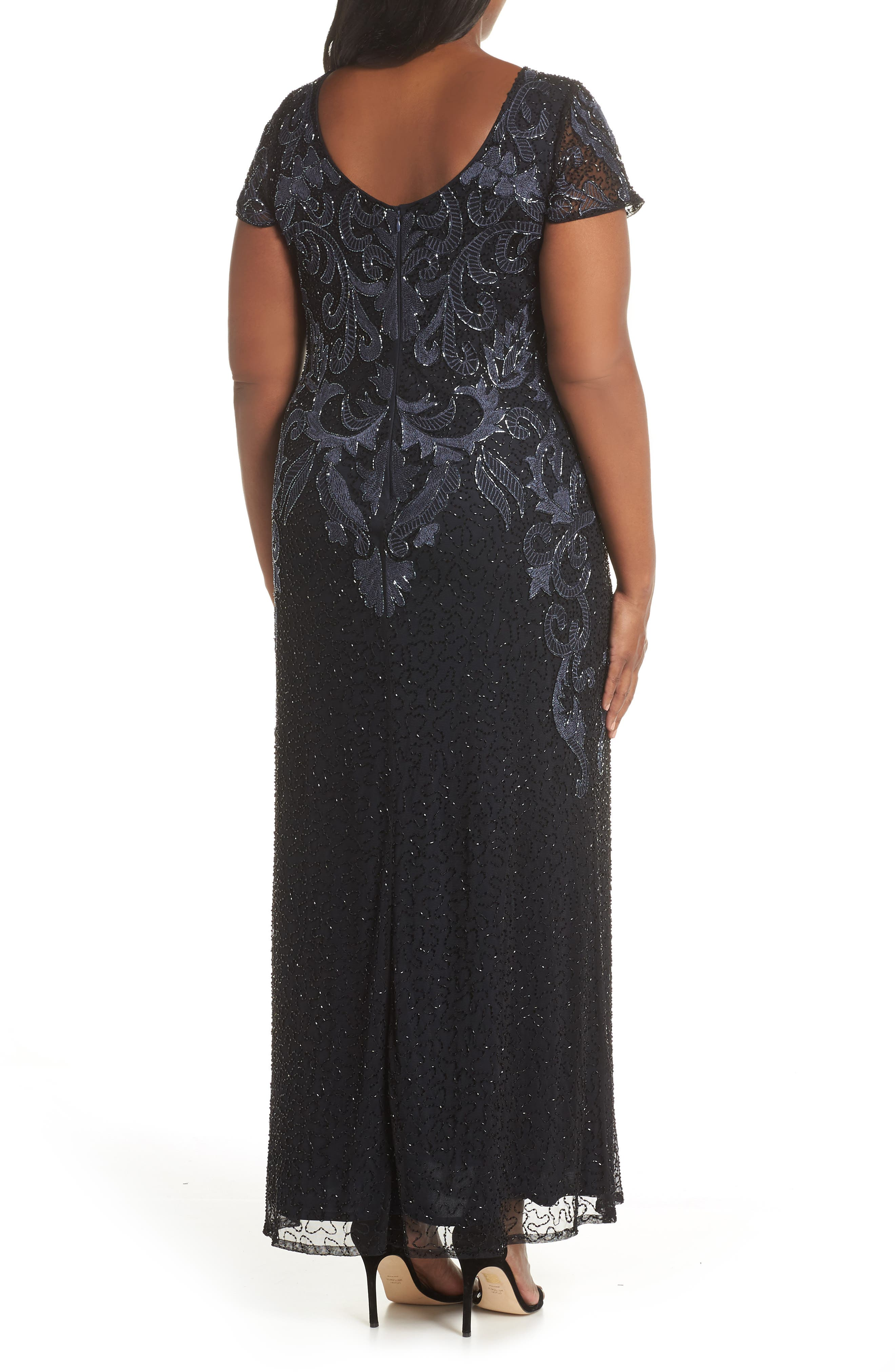 PISARRO NIGHTS,                             Embroidered Mesh Gown,                             Alternate thumbnail 9, color,                             001