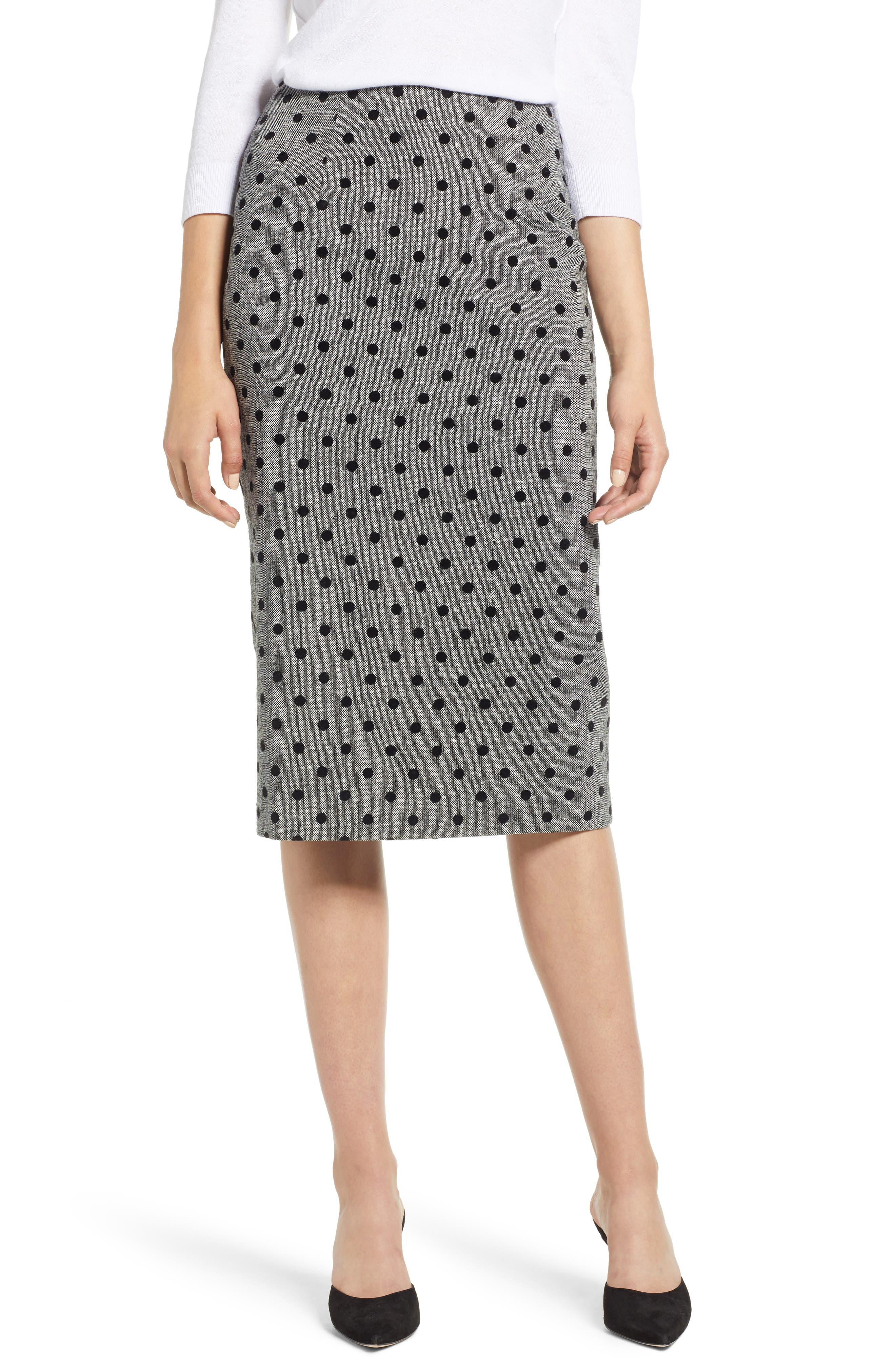 Dot Pencil Skirt,                         Main,                         color, GREY- BLACK DOT