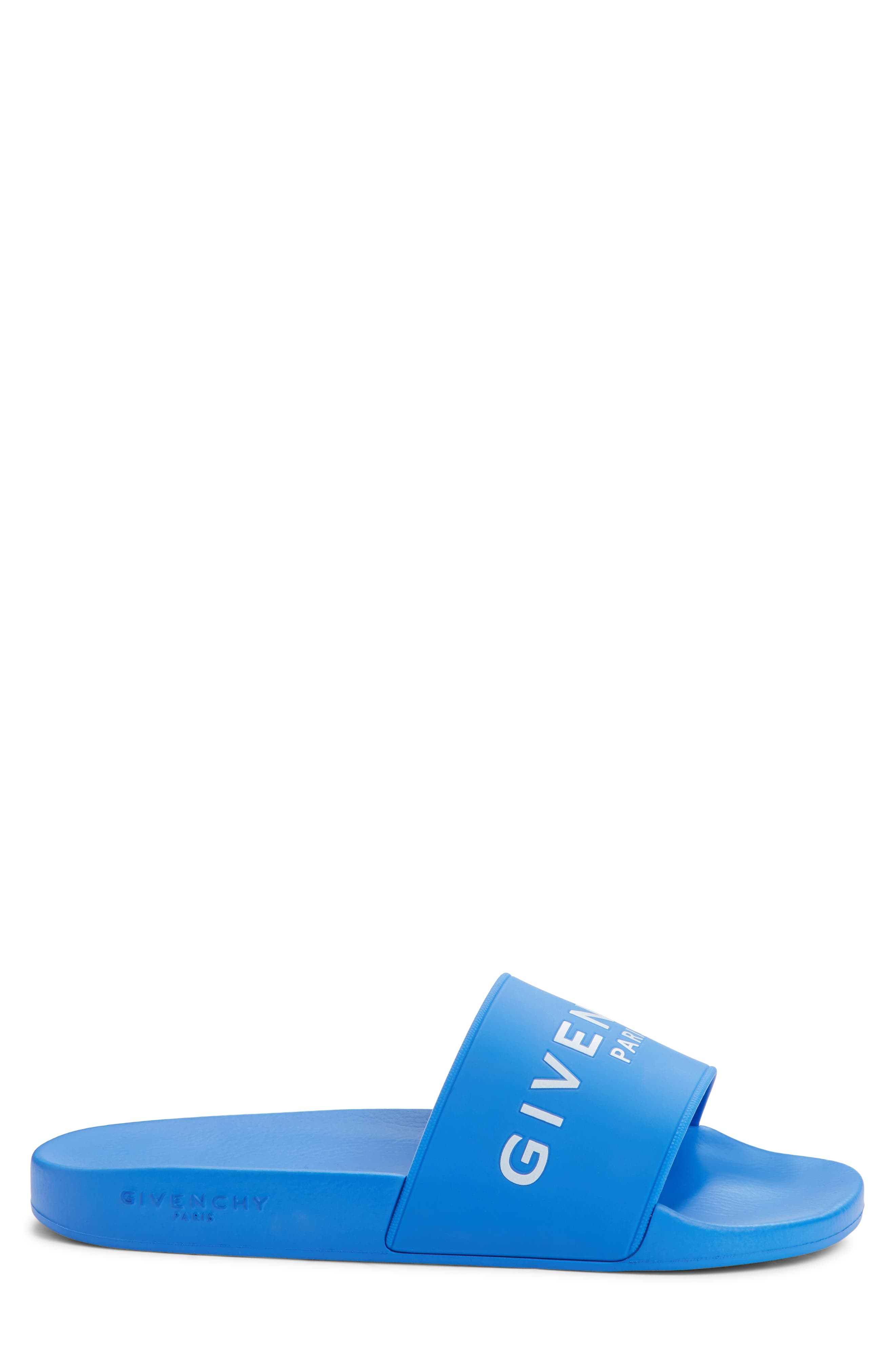 Slide Sandal,                             Alternate thumbnail 3, color,                             ELECTRIC BLUE/ WHITE