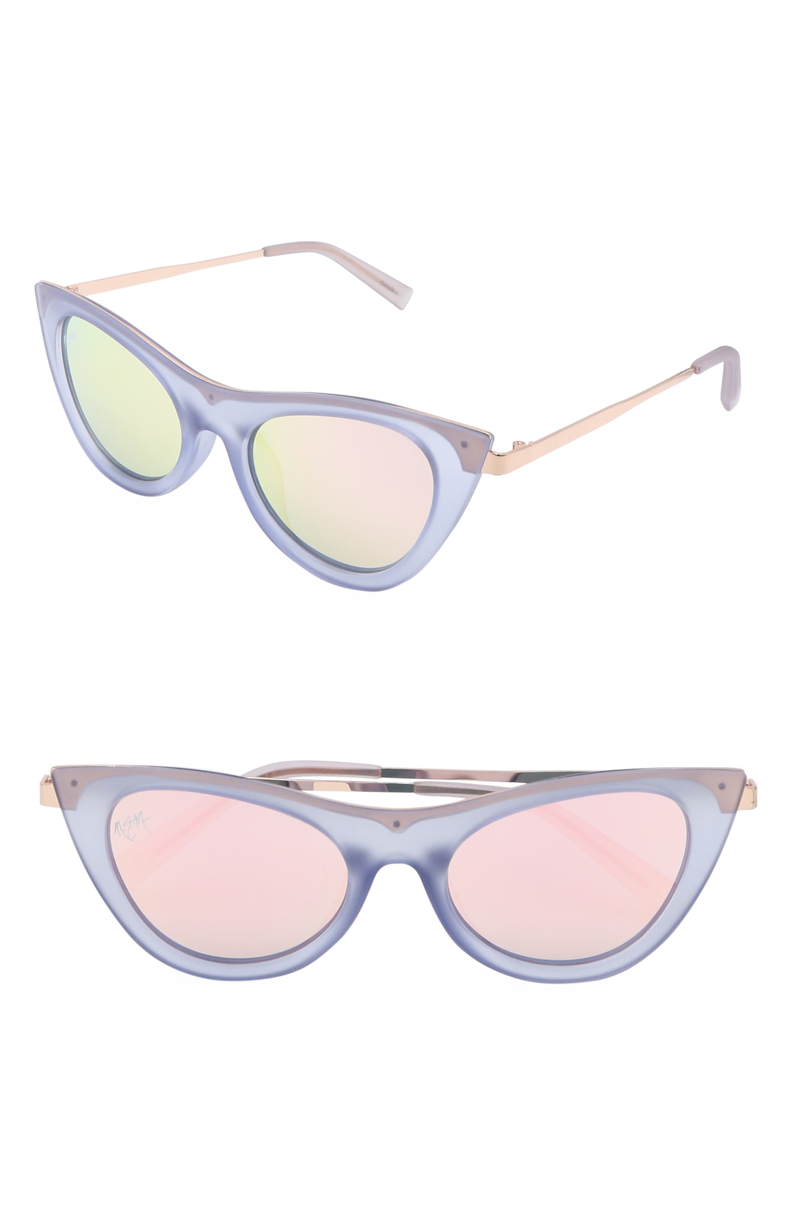 Nem Cruise 50Mm Cat Eye Sunglasses - Clear Sky Blue W Pink Tint
