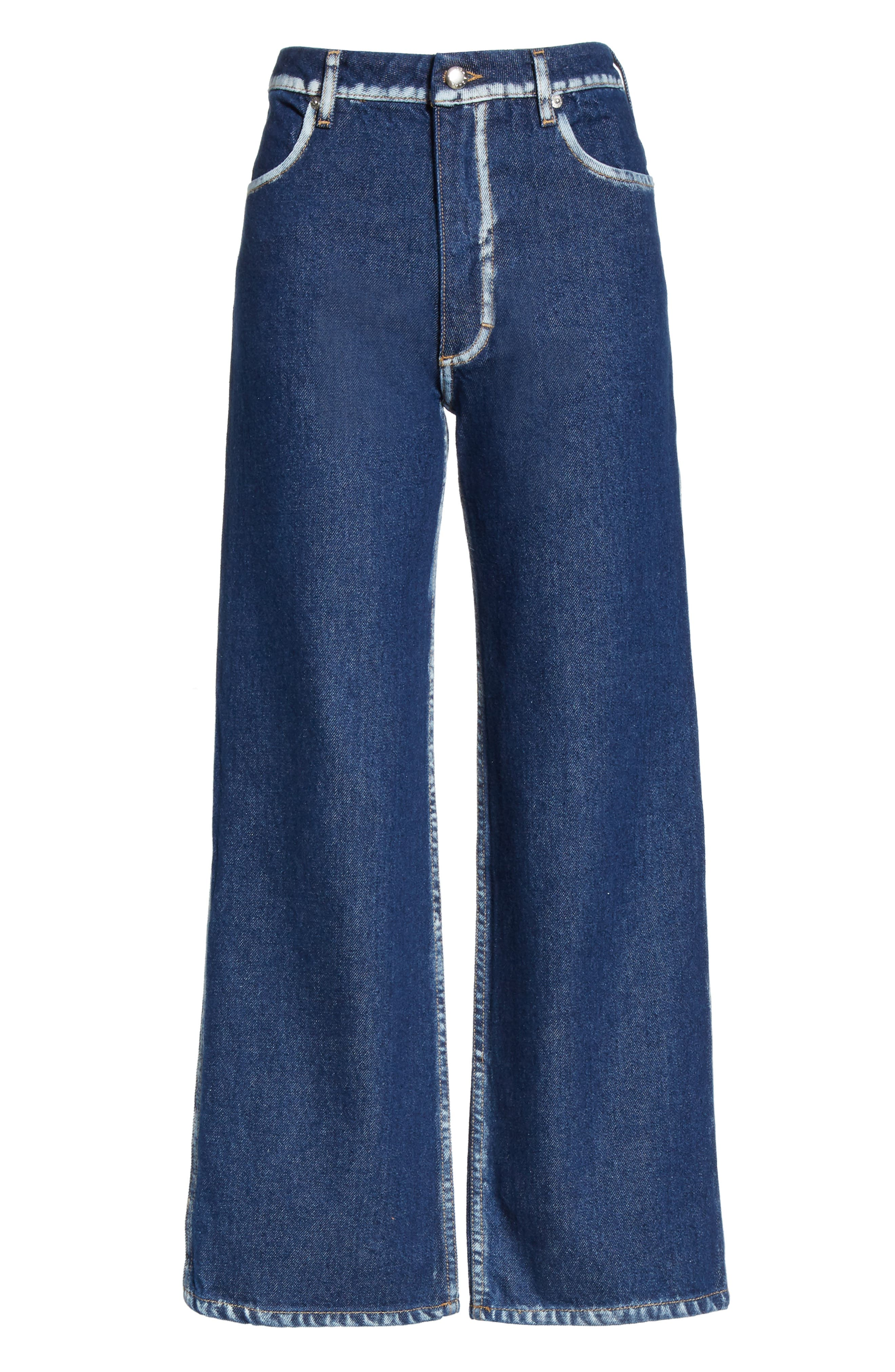 EL Painted Seam Wide Leg Jeans,                             Alternate thumbnail 6, color,                             BLUE SEAM PAINTING