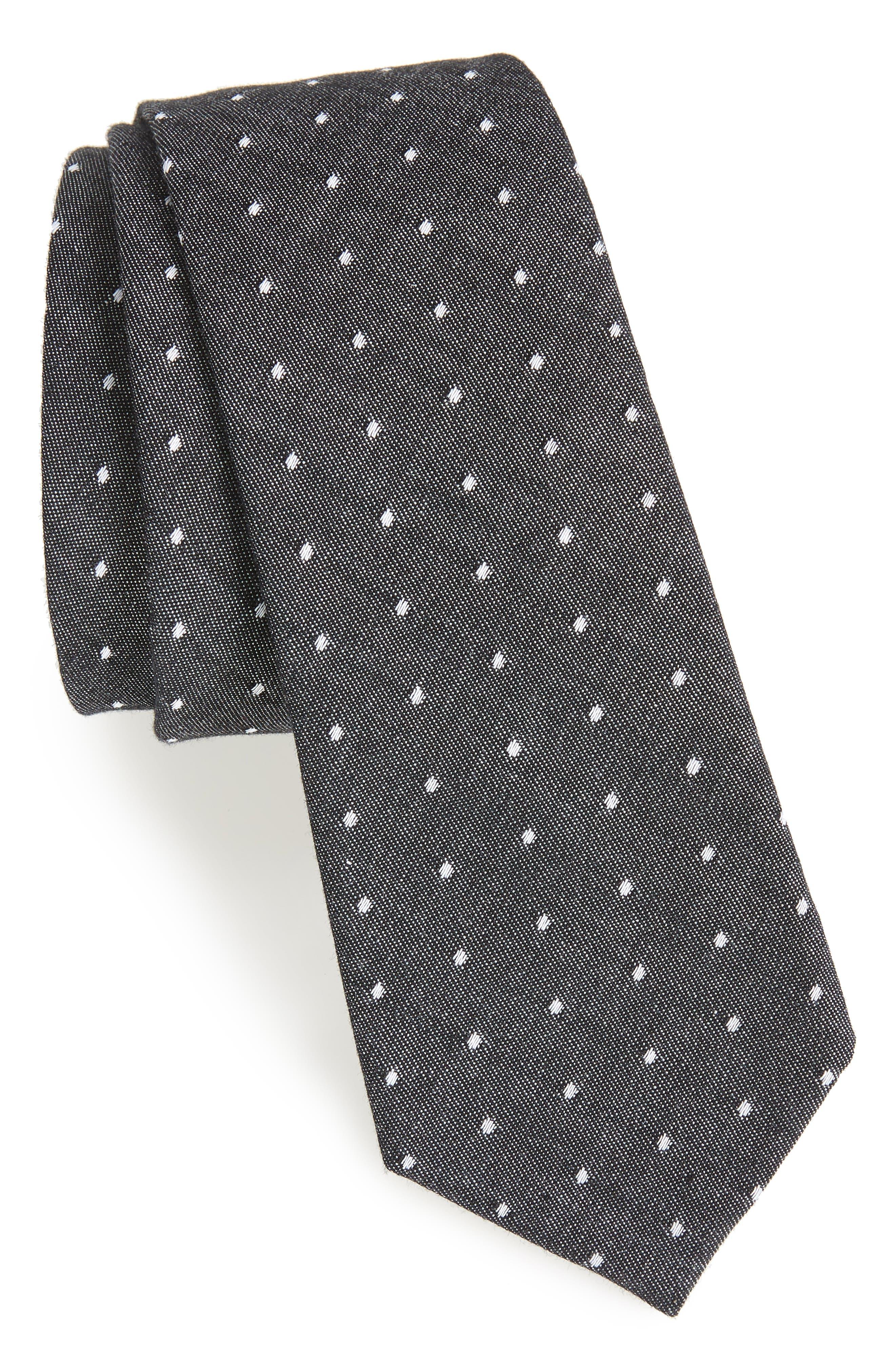 Velasco Dot Cotton Tie,                             Main thumbnail 1, color,