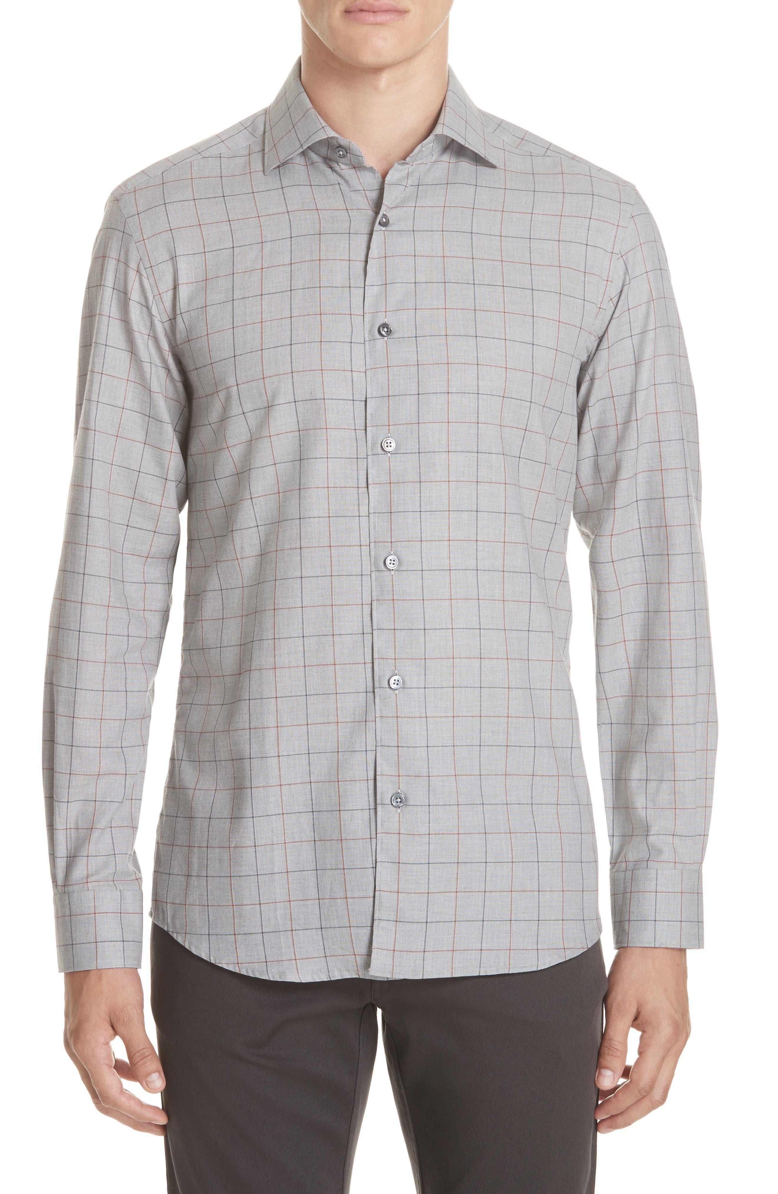 Classic Fit Windowpane Sport Shirt,                             Main thumbnail 1, color,                             BROWN