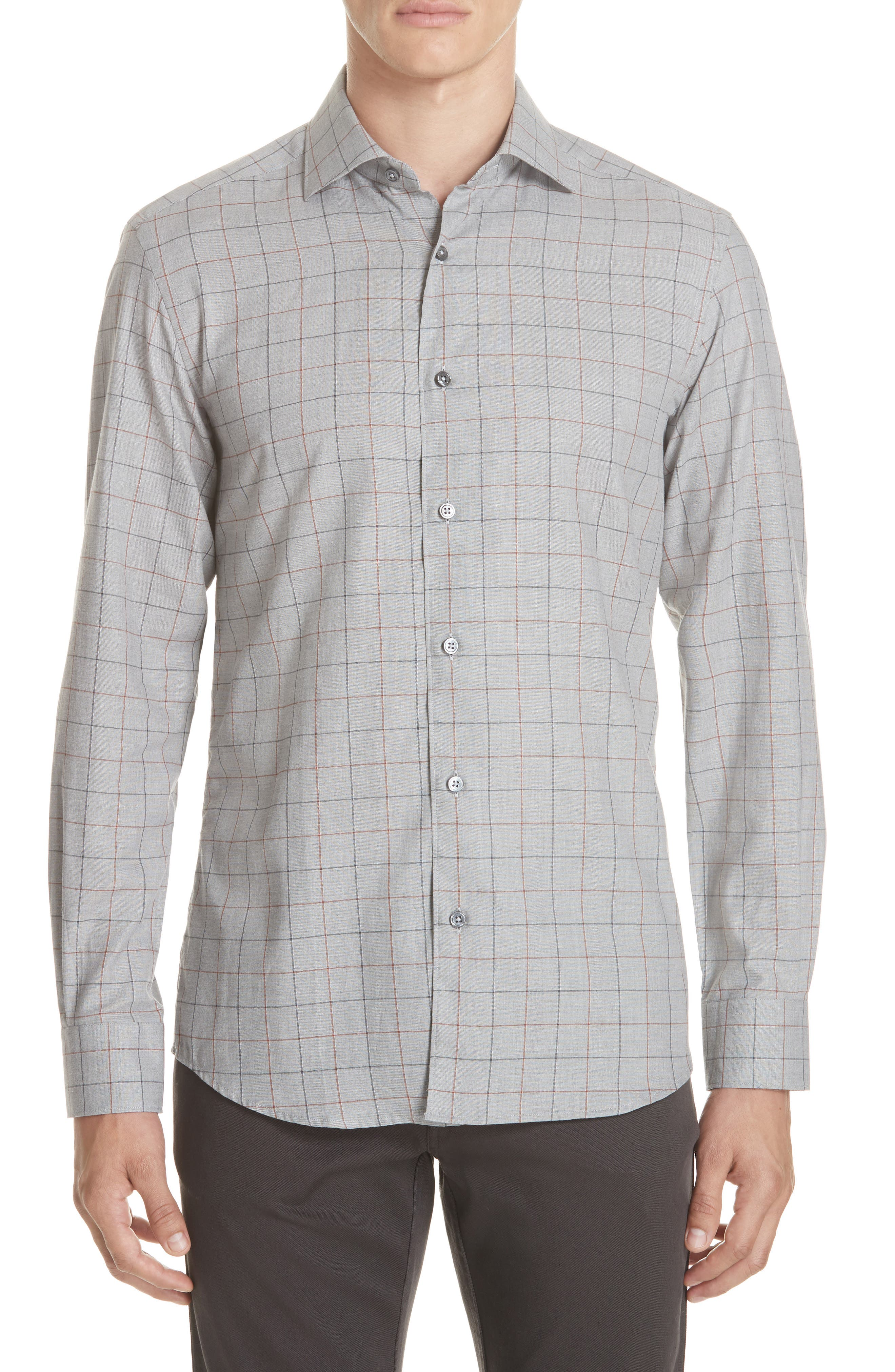 Classic Fit Windowpane Sport Shirt,                         Main,                         color, BROWN