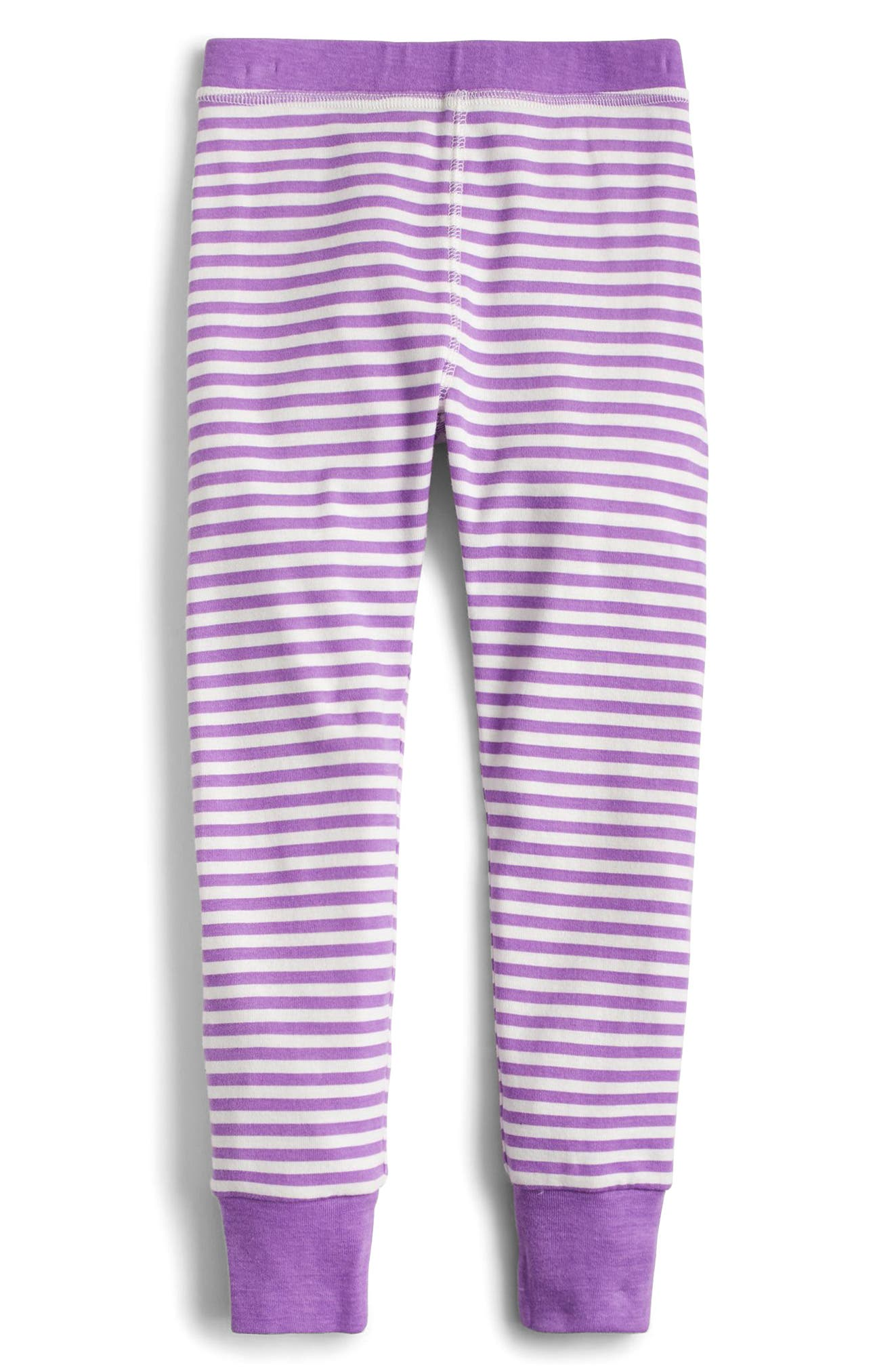 Dot & Stripe Fitted Two-Piece Pajamas,                             Alternate thumbnail 3, color,                             500