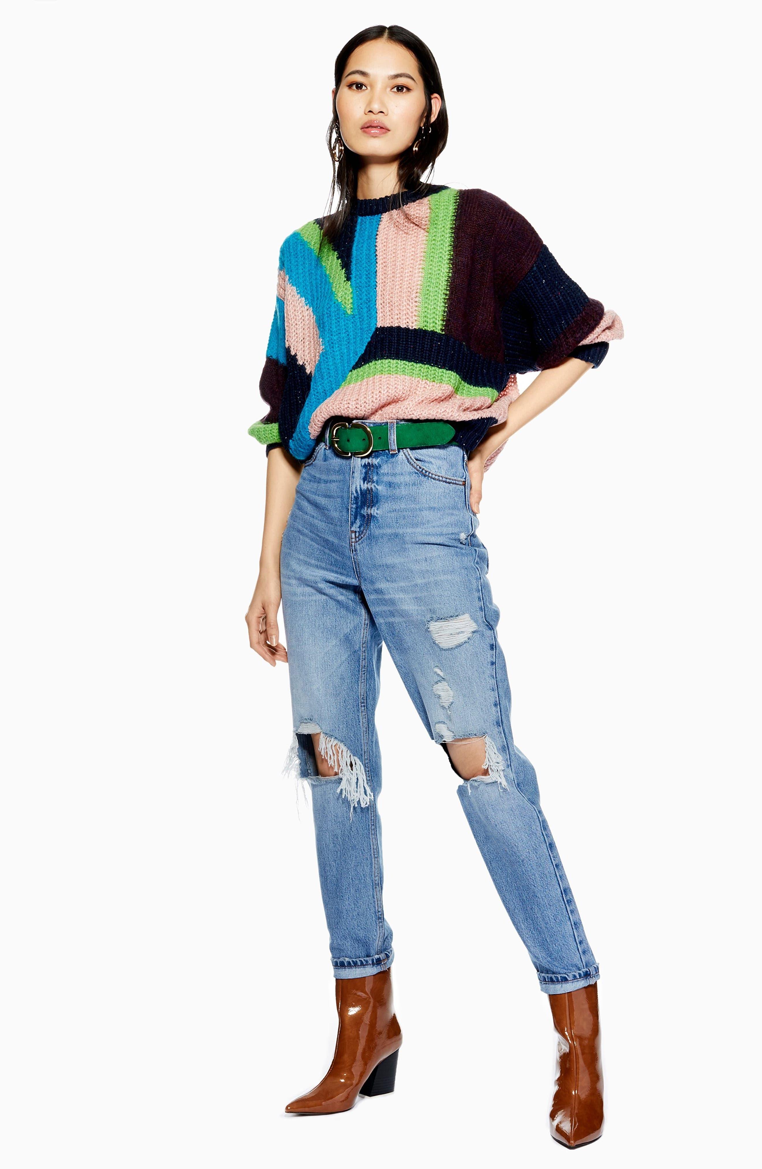 TOPSHOP,                             Colorblock Sweater,                             Alternate thumbnail 4, color,                             002