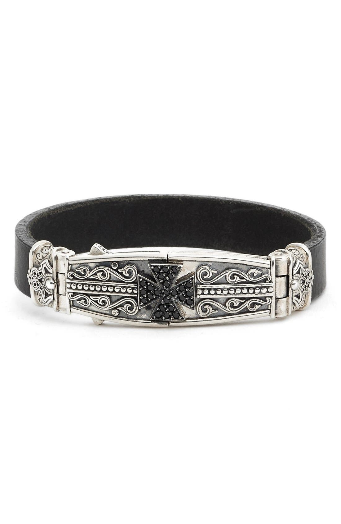 Plato Maltese Cross Leather Bracelet,                             Main thumbnail 1, color,                             SILVER
