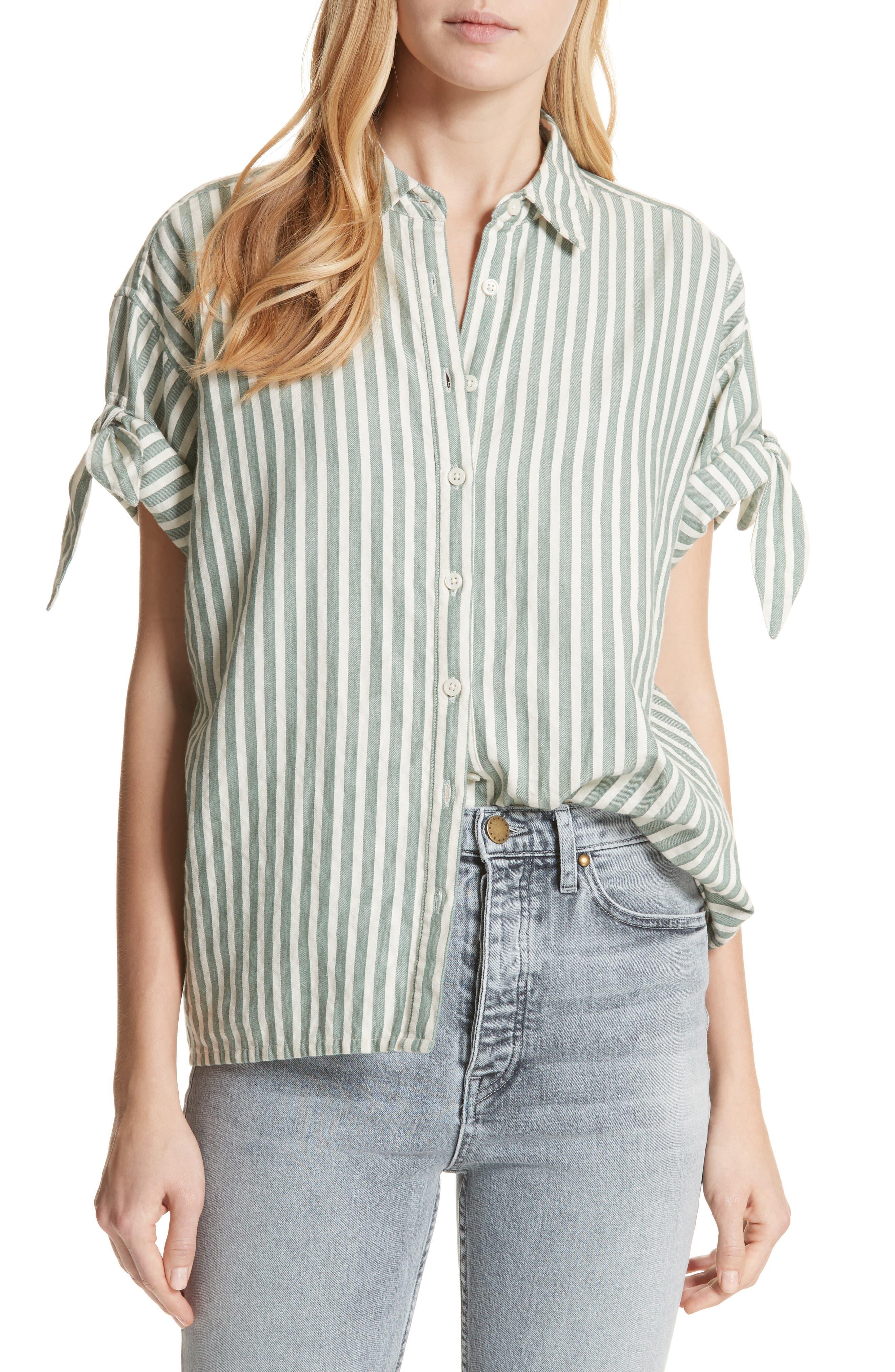 The Tie Sleeve Stripe Shirt,                             Main thumbnail 1, color,                             300