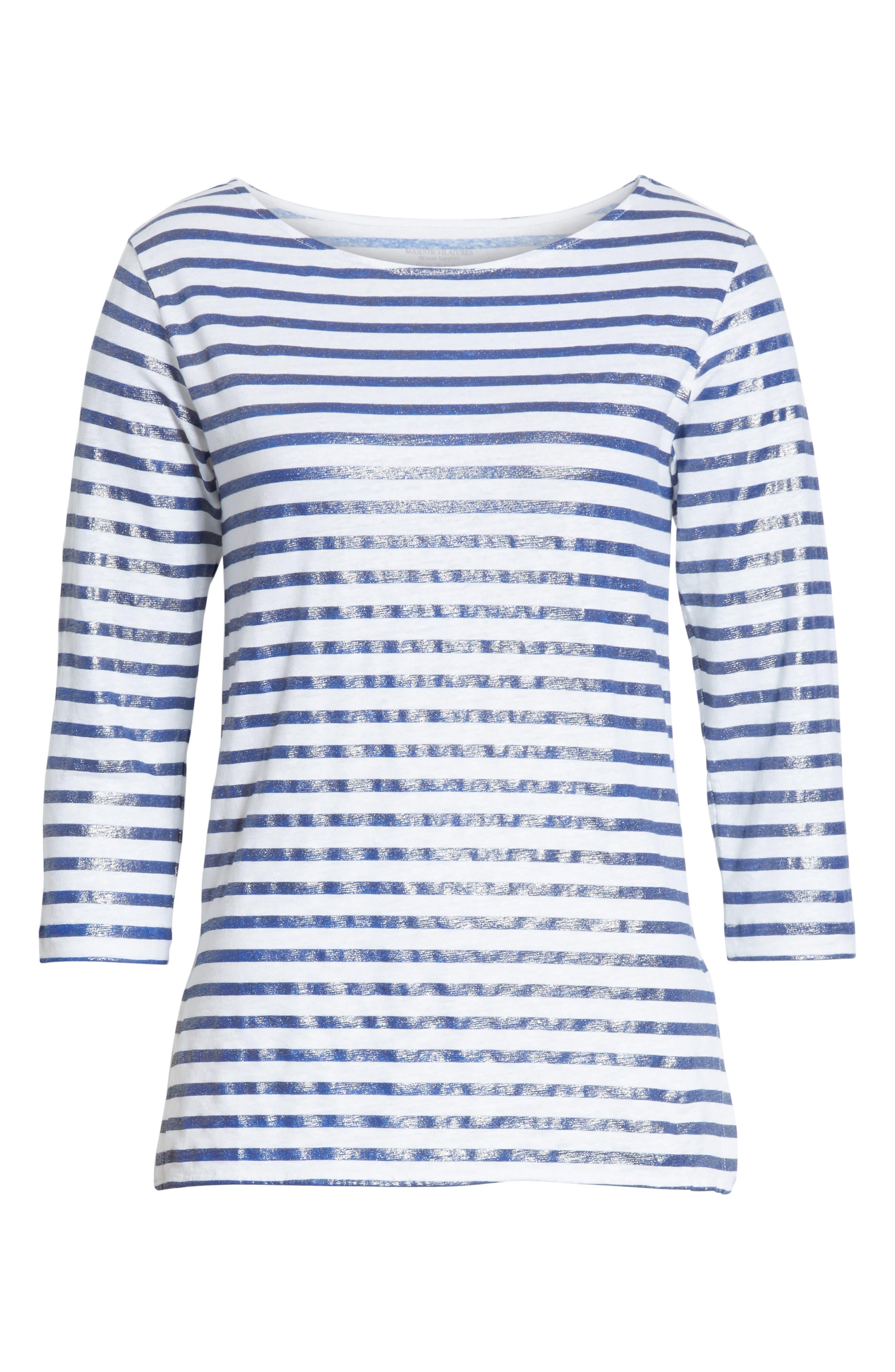 Linen Stretch Stripe Top,                             Alternate thumbnail 6, color,                             425