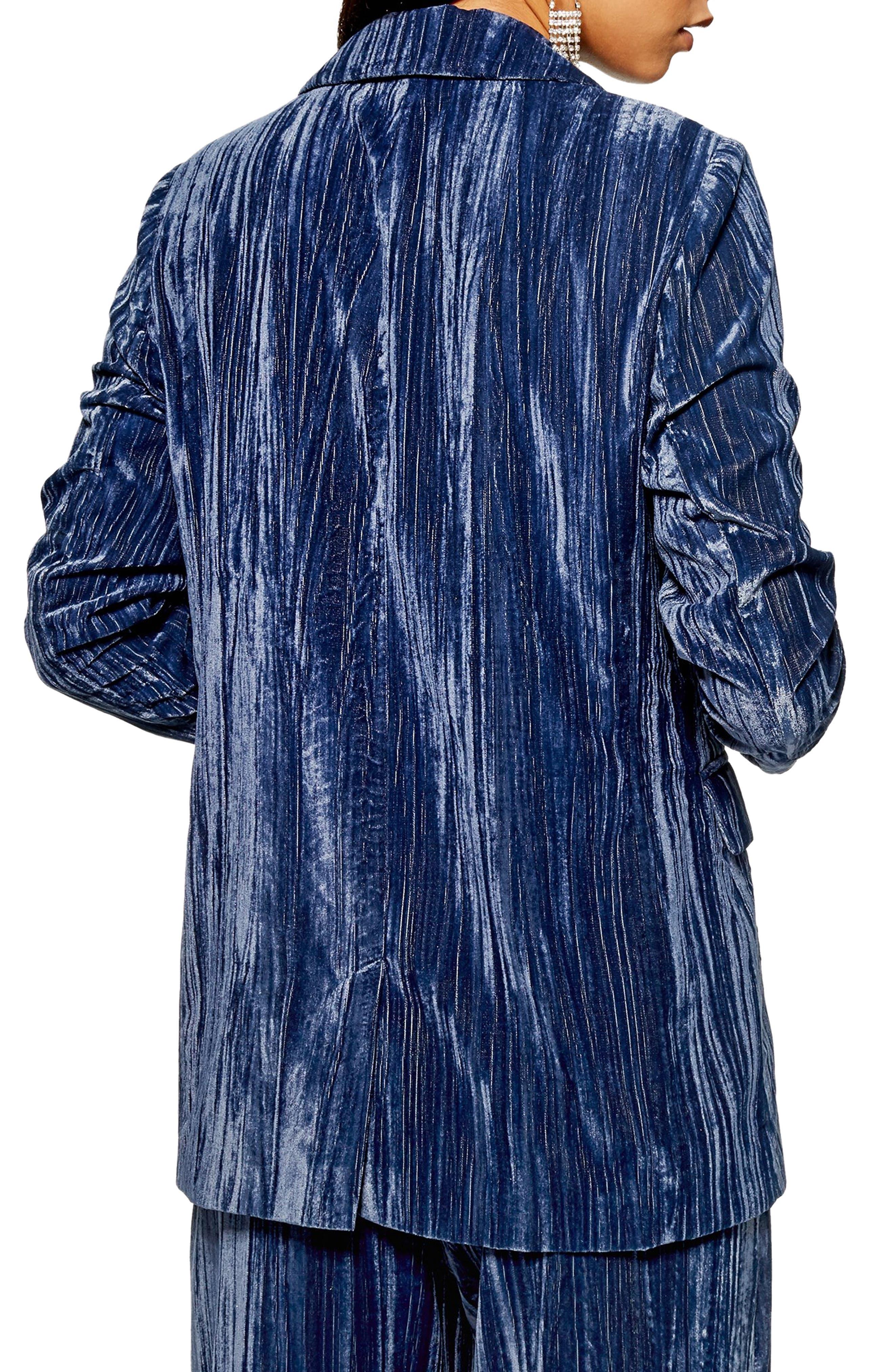 Crinkle Velvet Jacket,                             Alternate thumbnail 2, color,                             BLUE