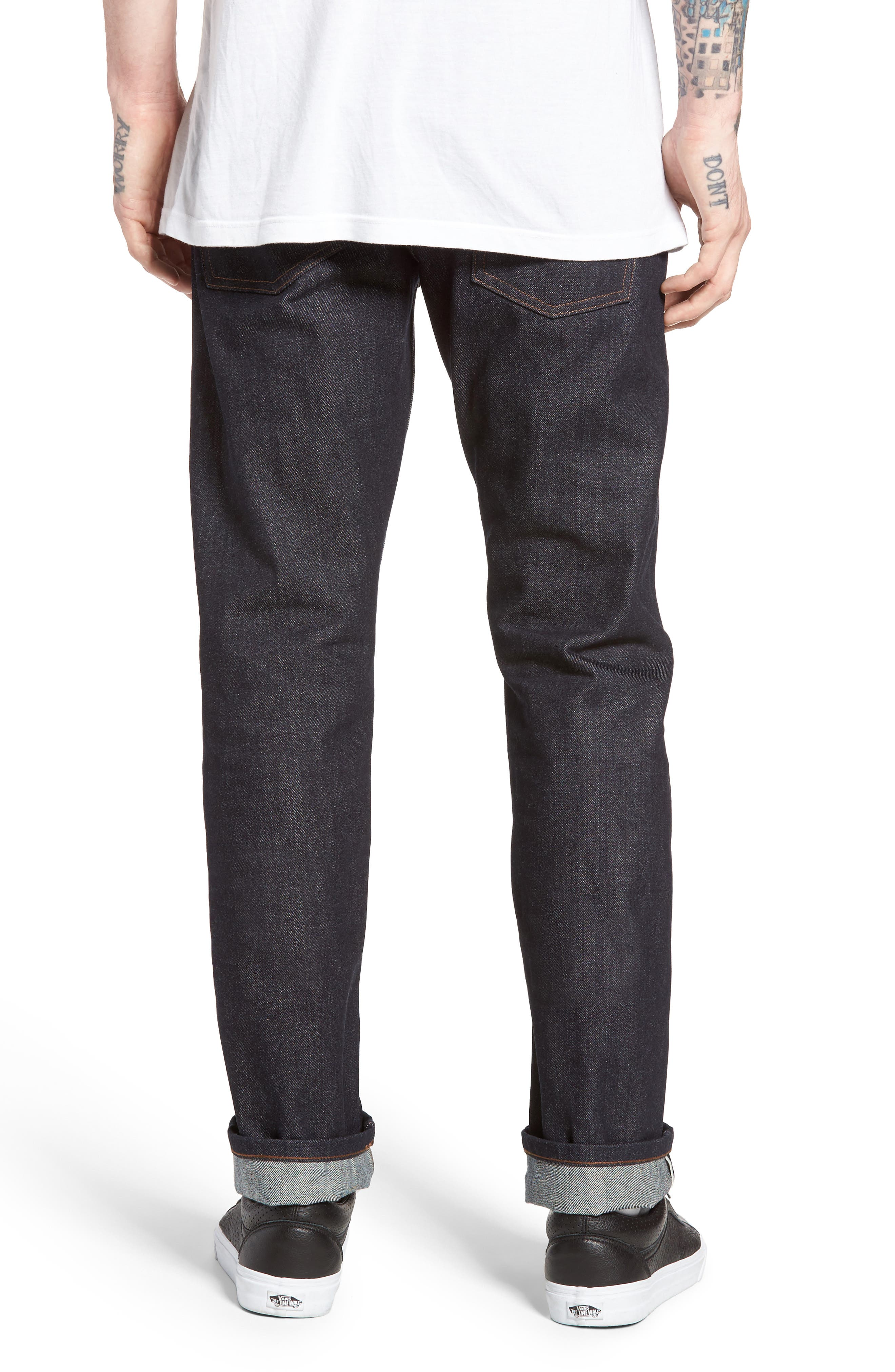 UB201 Tapered Fit Raw Selvedge Jeans,                             Alternate thumbnail 3, color,                             INDIGO