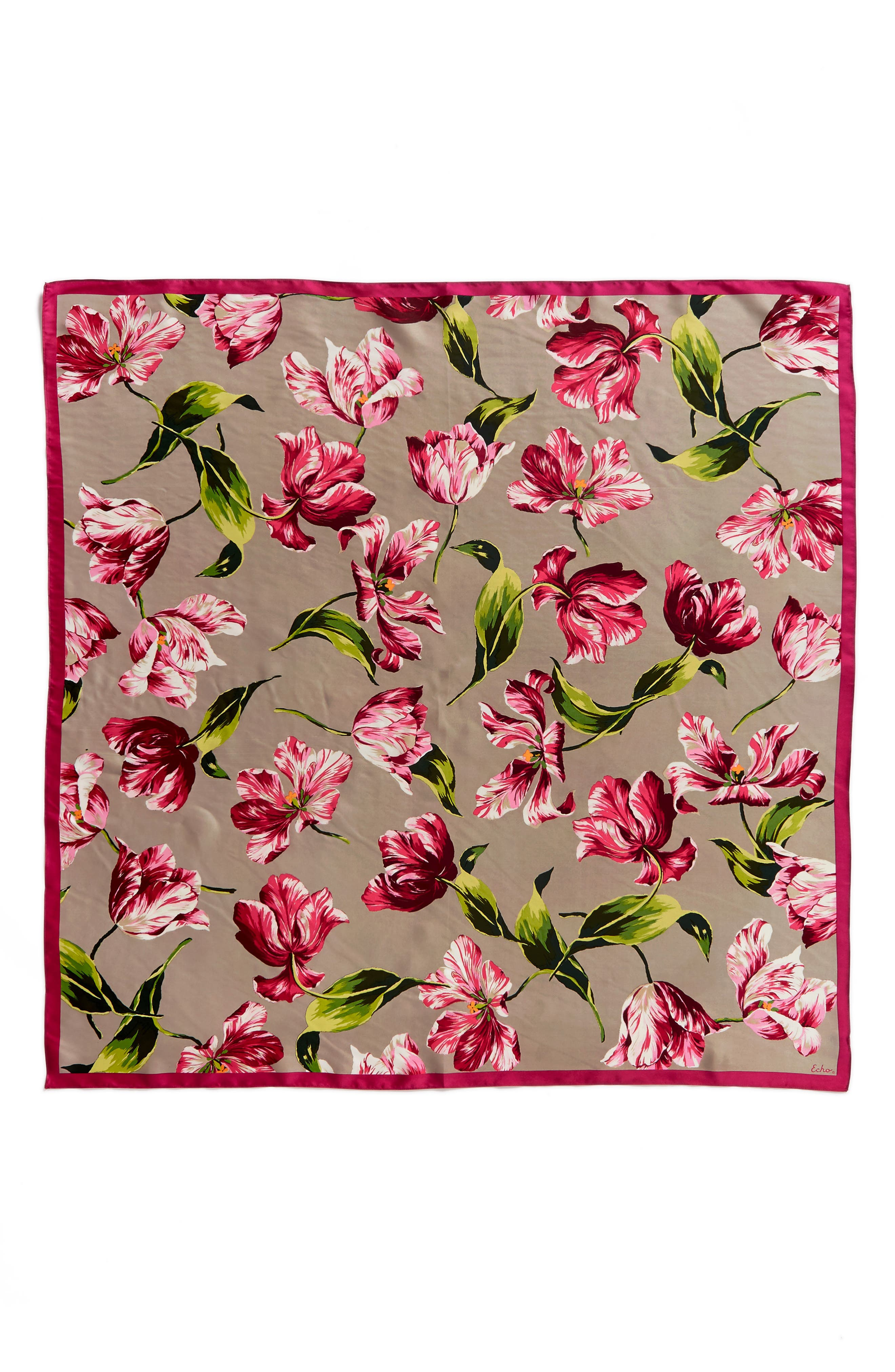 Buckingham Tulips Silk Square Scarf,                             Alternate thumbnail 3, color,                             263