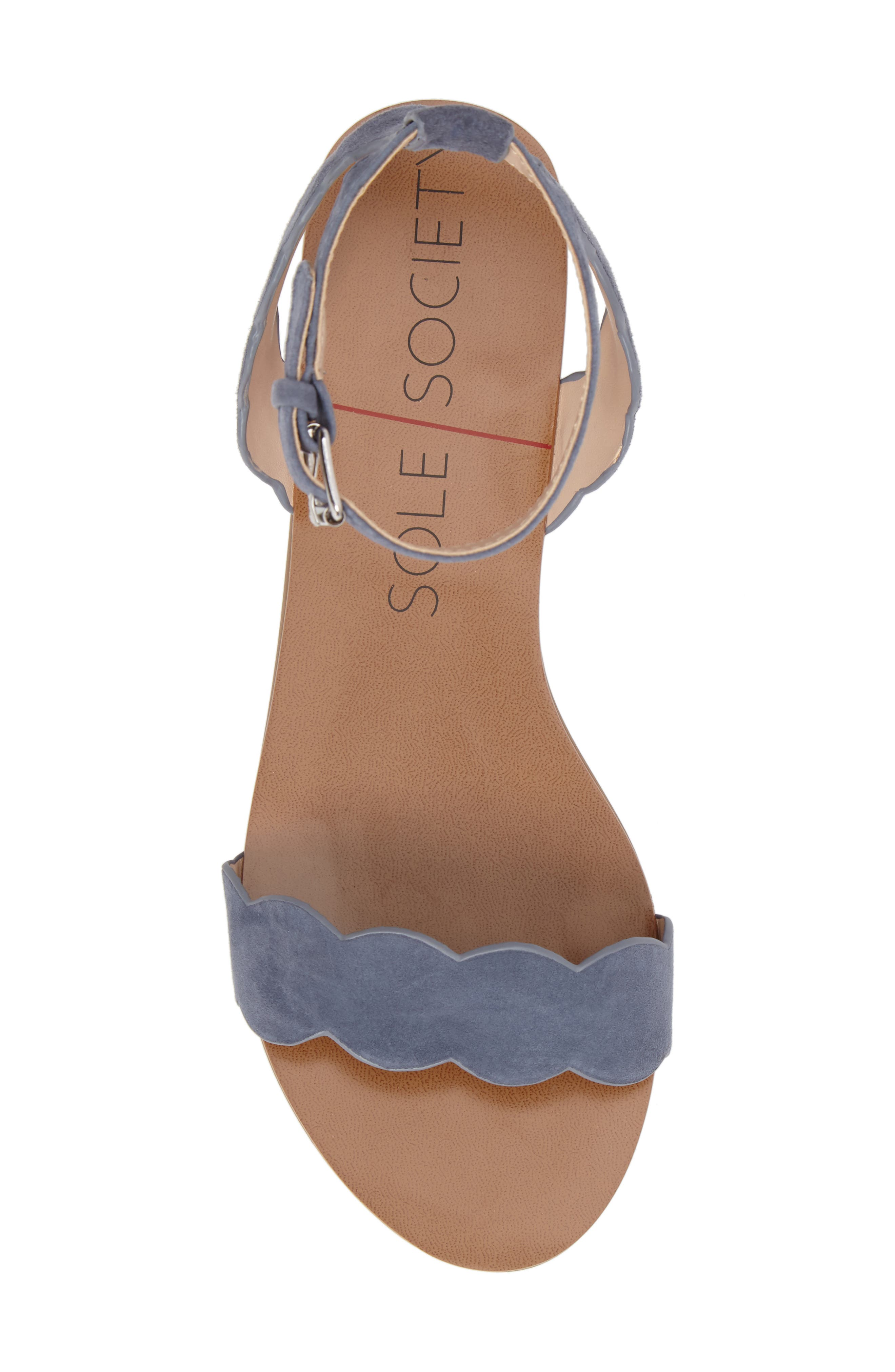 'Odette' Scalloped Ankle Strap Flat Sandal,                             Alternate thumbnail 31, color,
