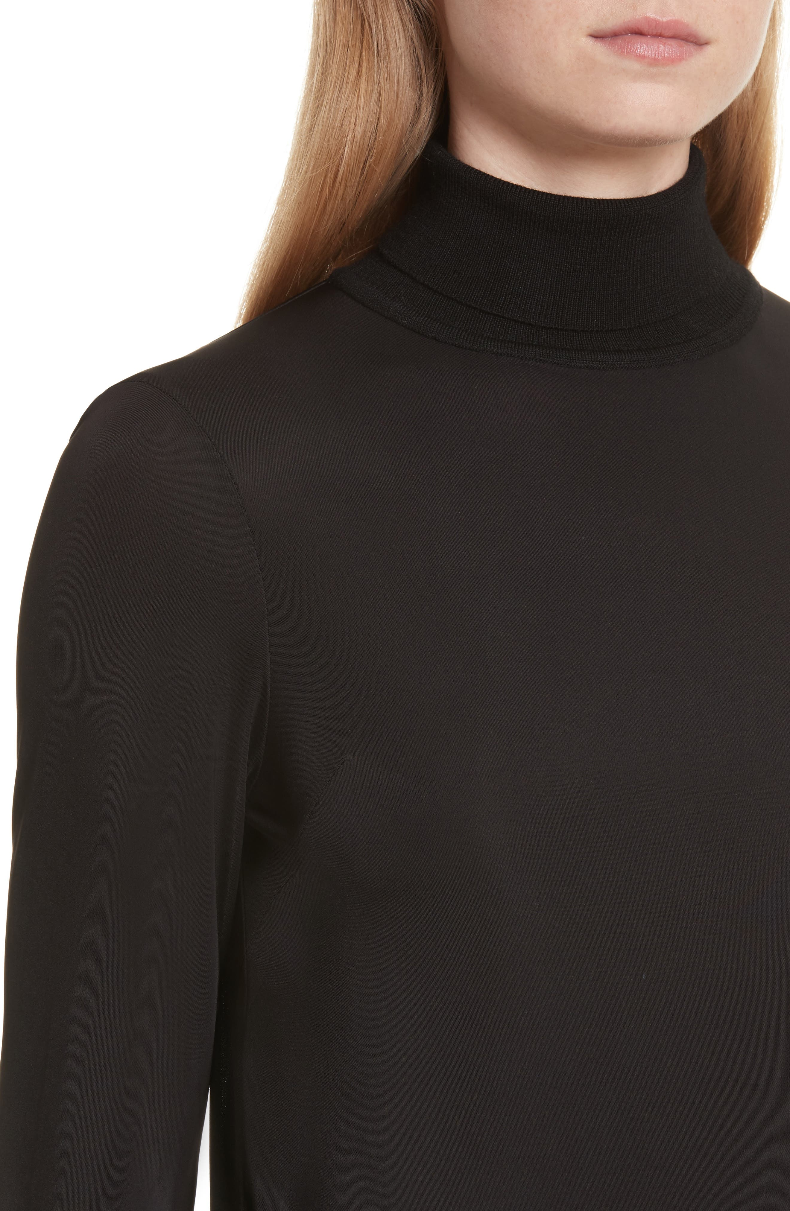 Merino Trim Turtleneck Sweater,                             Alternate thumbnail 4, color,                             001