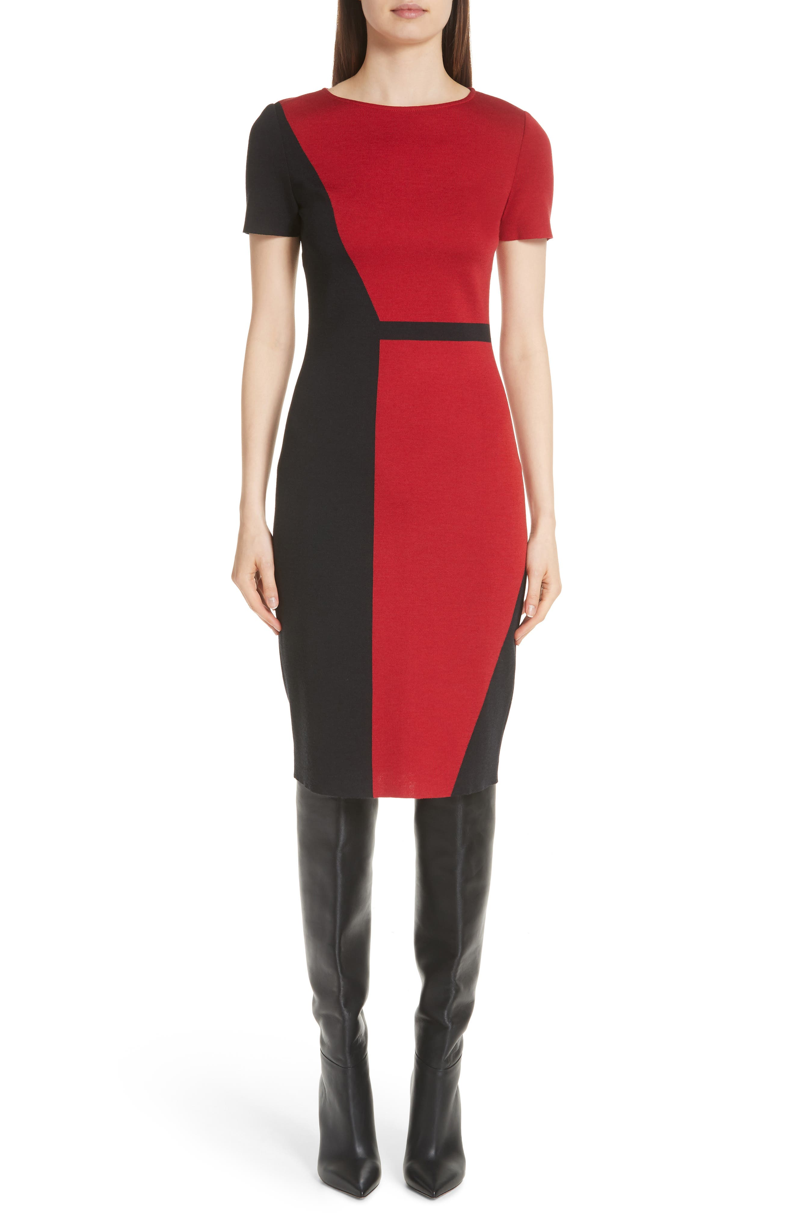St. John Collection Slanted Colorblock Milano Knit Sheath Dress, Red