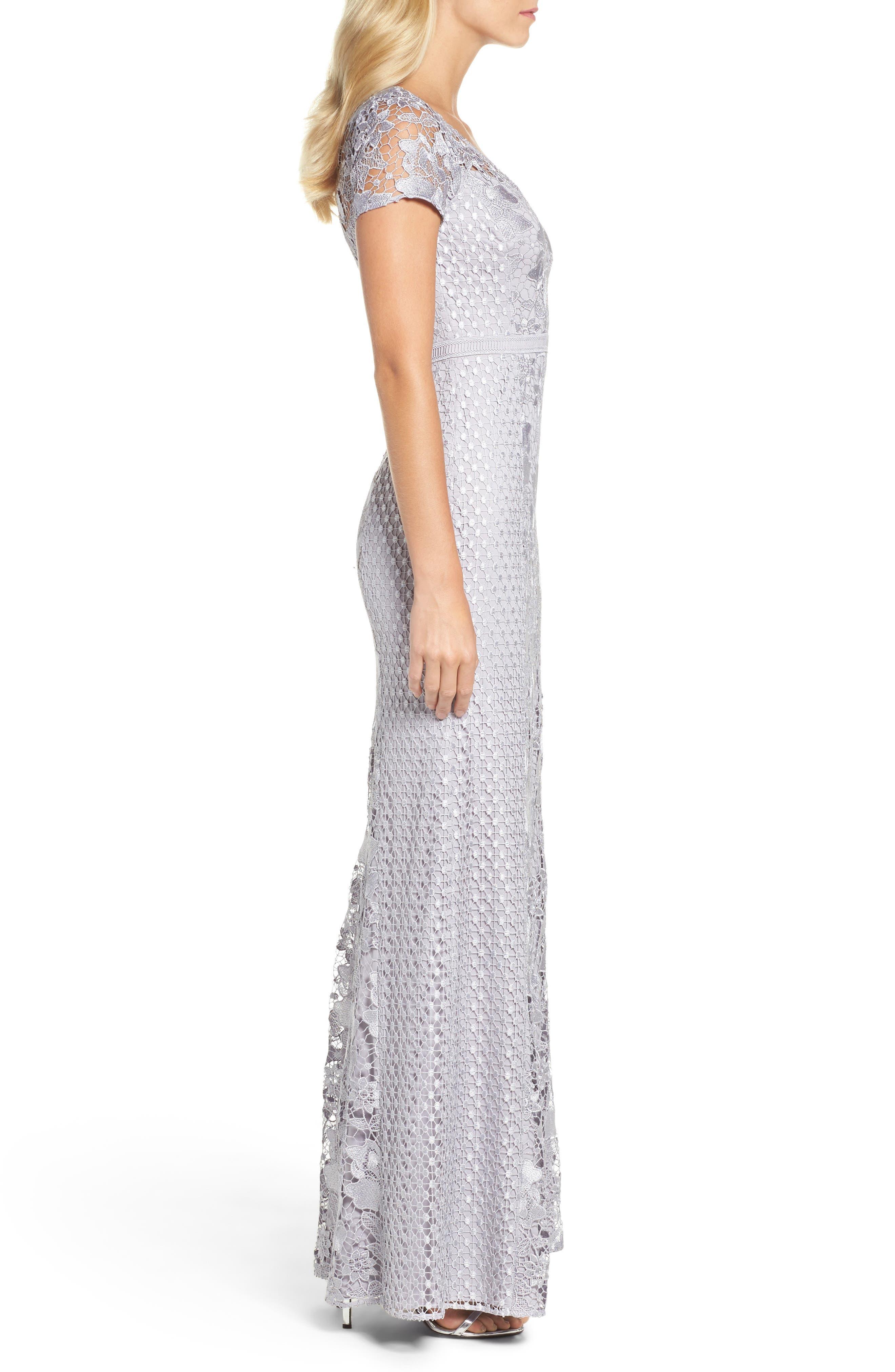 Guipure Lace Mermaid Gown,                             Alternate thumbnail 3, color,                             040