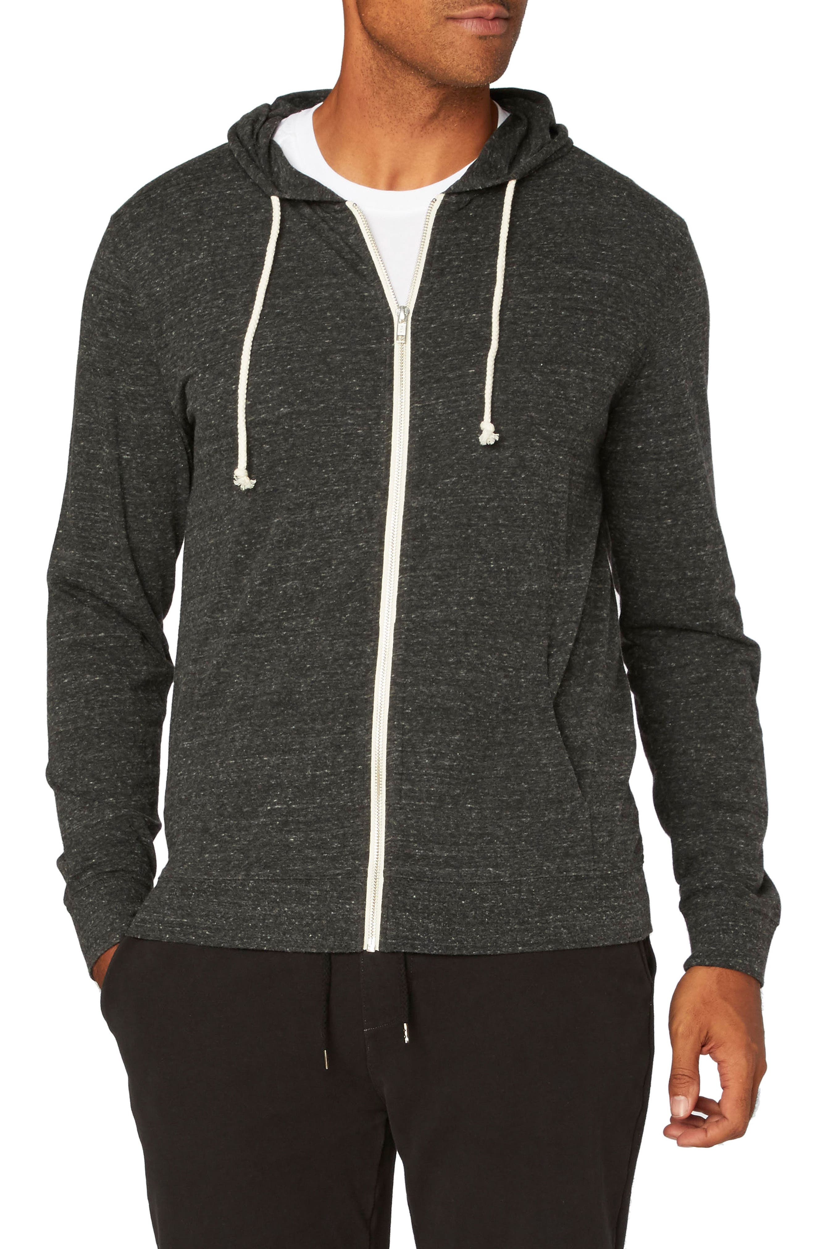Threads for Thought Giulio Zip Hoodie,                         Main,                         color, HEATHER BLACK