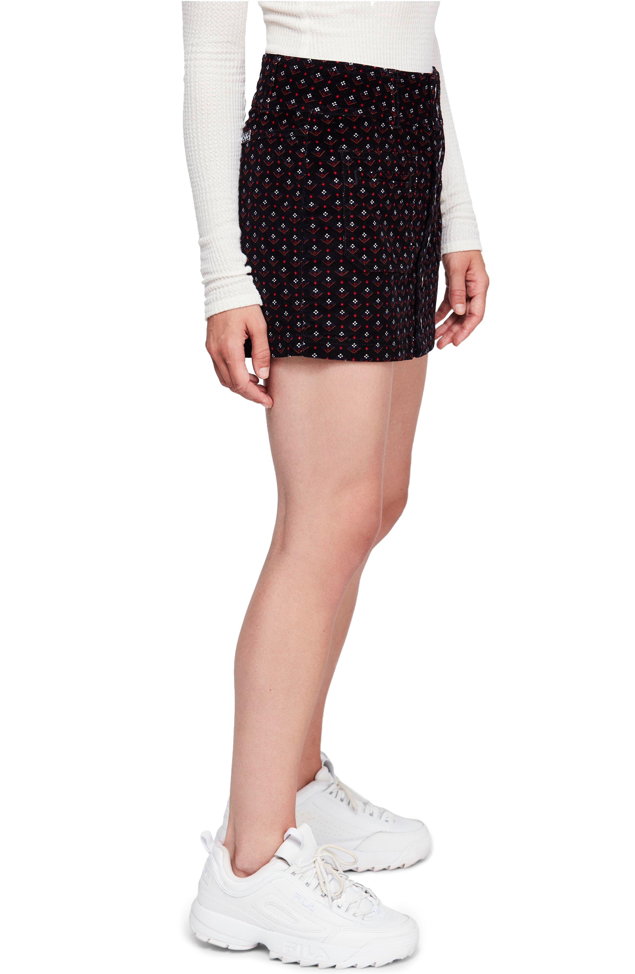 Joanie Print Corduroy Skirt,                             Alternate thumbnail 3, color,                             019