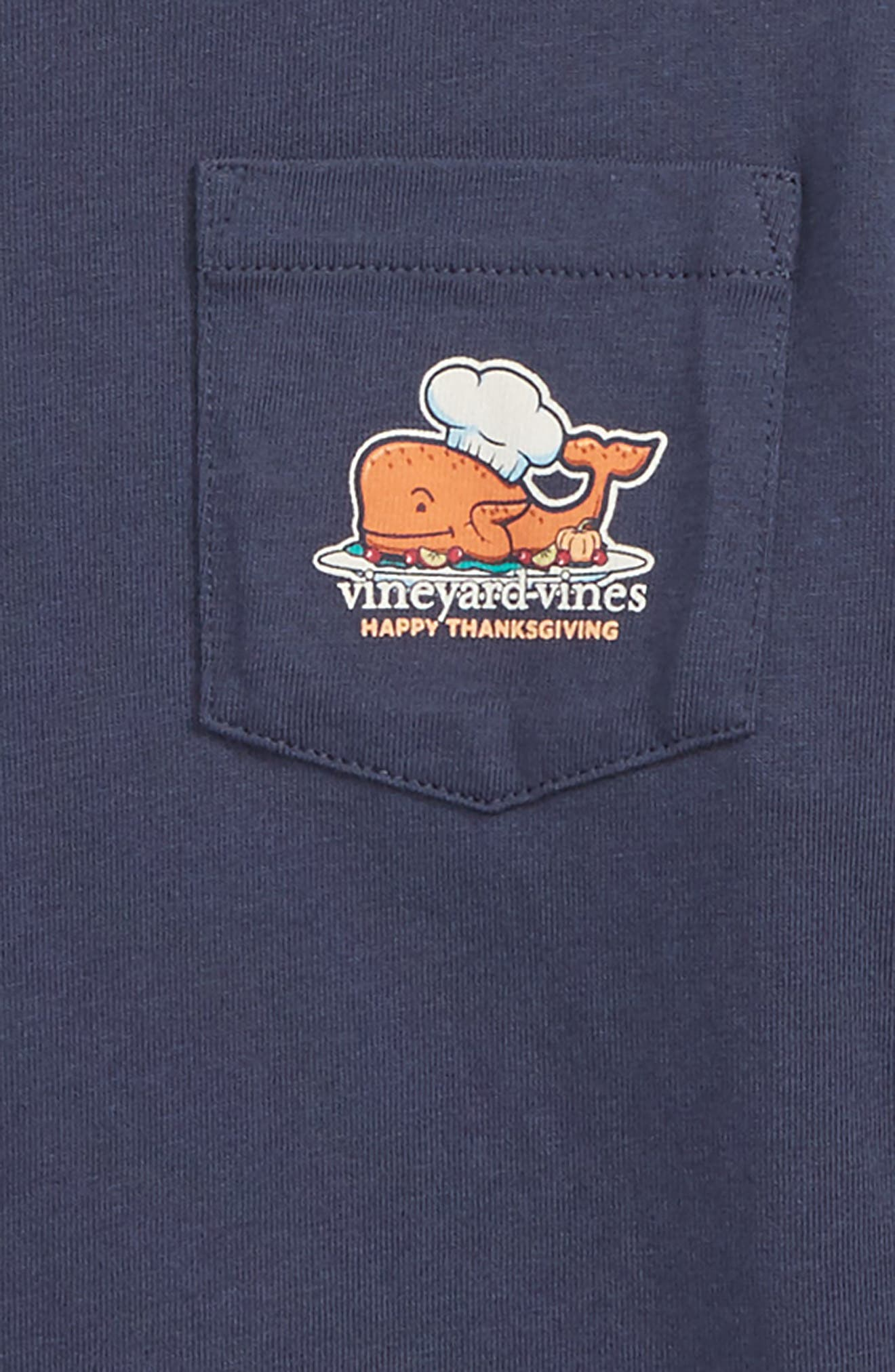 Thanksgiving Turkey Pocket T-Shirt,                             Alternate thumbnail 3, color,                             BLUE BLAZER