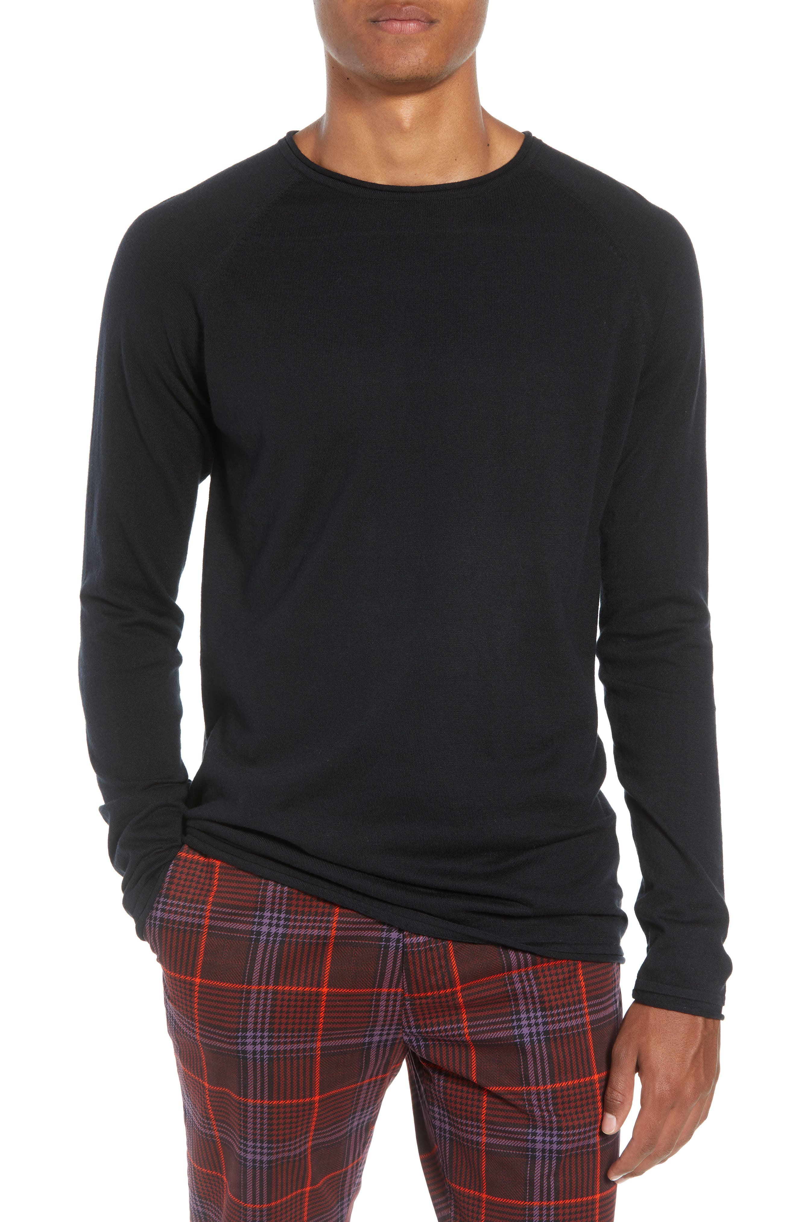 Crewneck Sweatshirt,                             Main thumbnail 1, color,                             BLACK