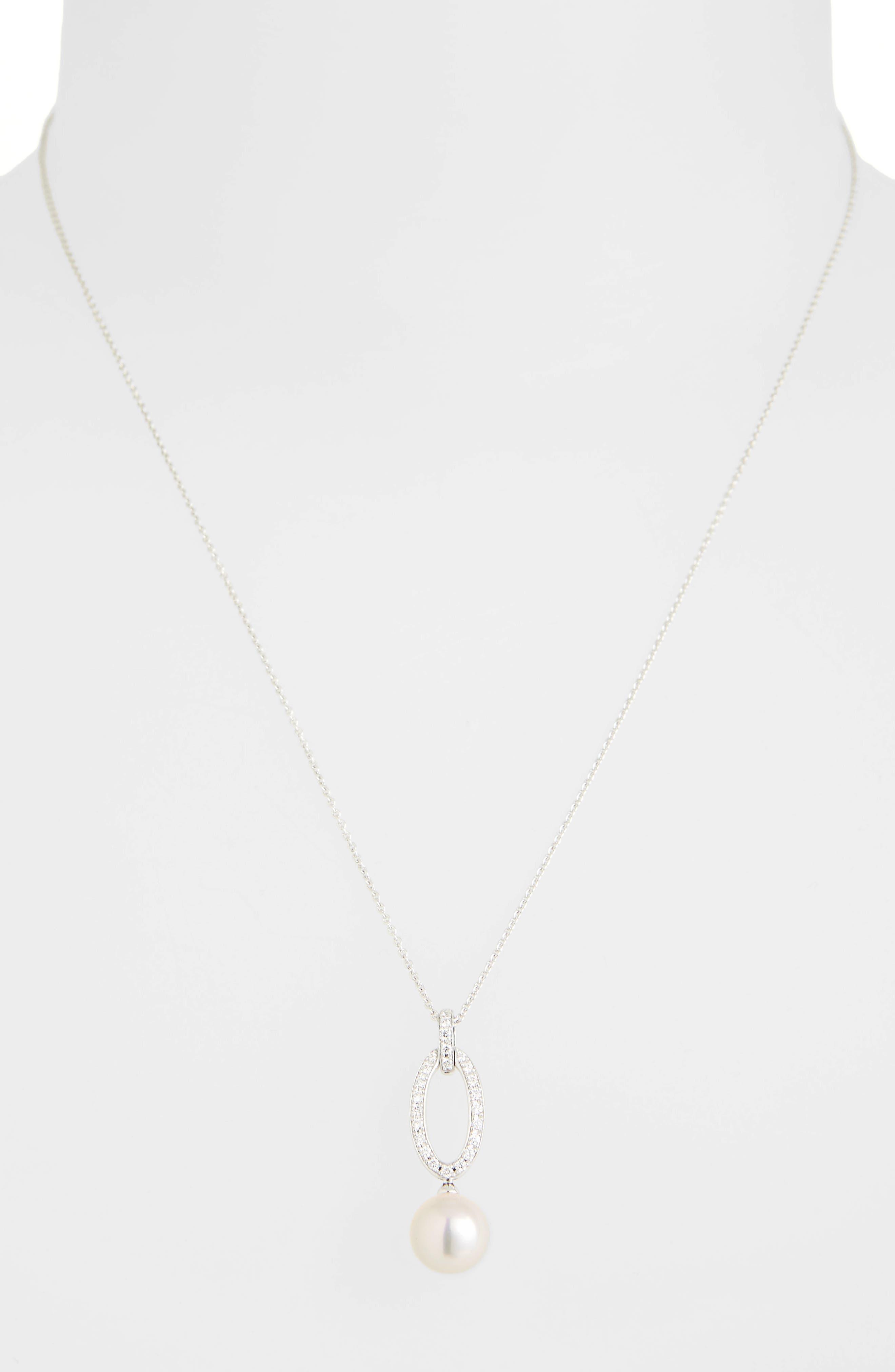 Diamond & Akoya Cultured Pearl Pendant Necklace,                             Alternate thumbnail 2, color,                             WHITE GOLD